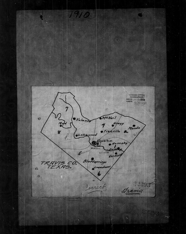 Austin Travis County 1910 Census Enumeration District Map