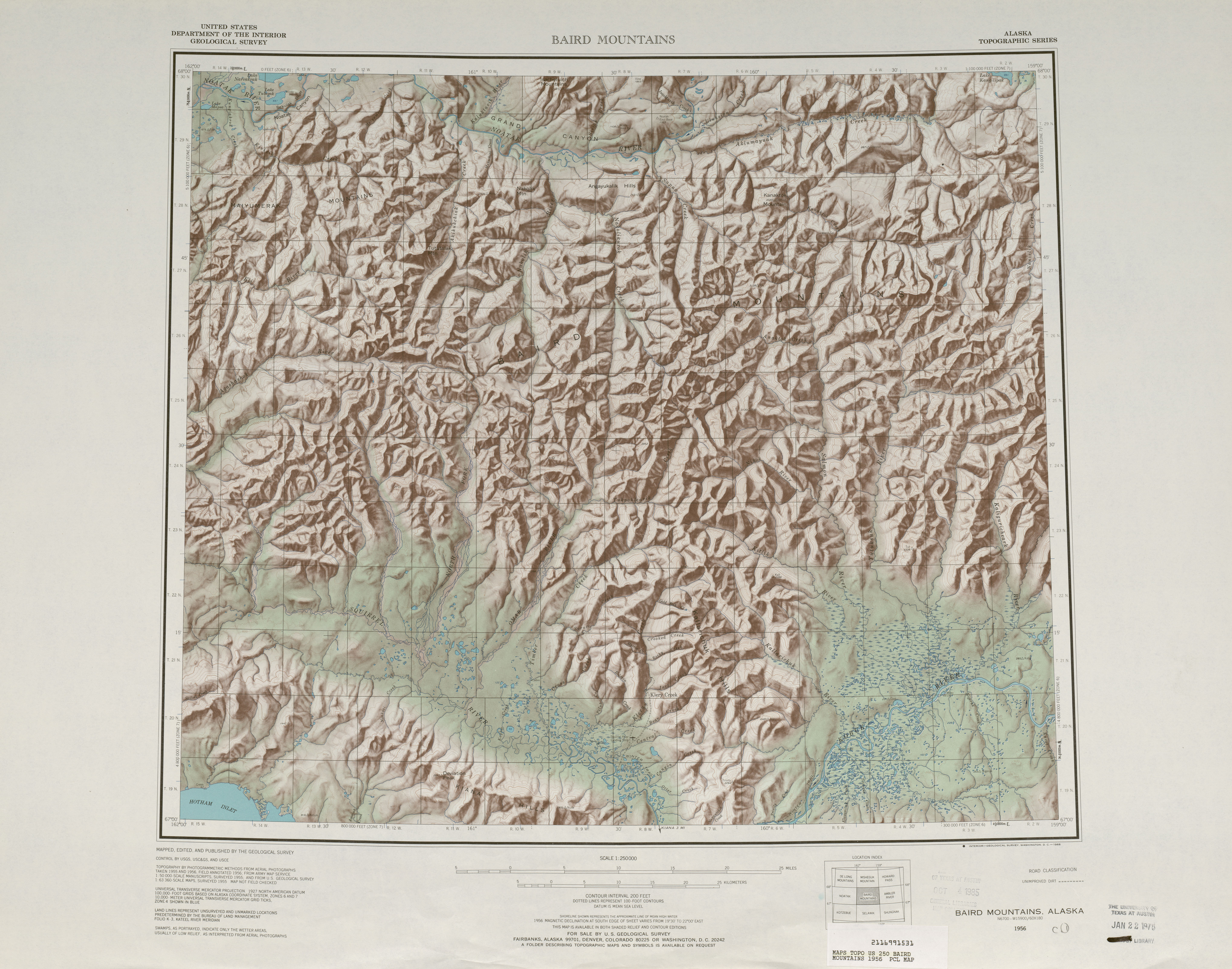 Baird Mountains 1956 Shaded Relief Map 4 5 Mb