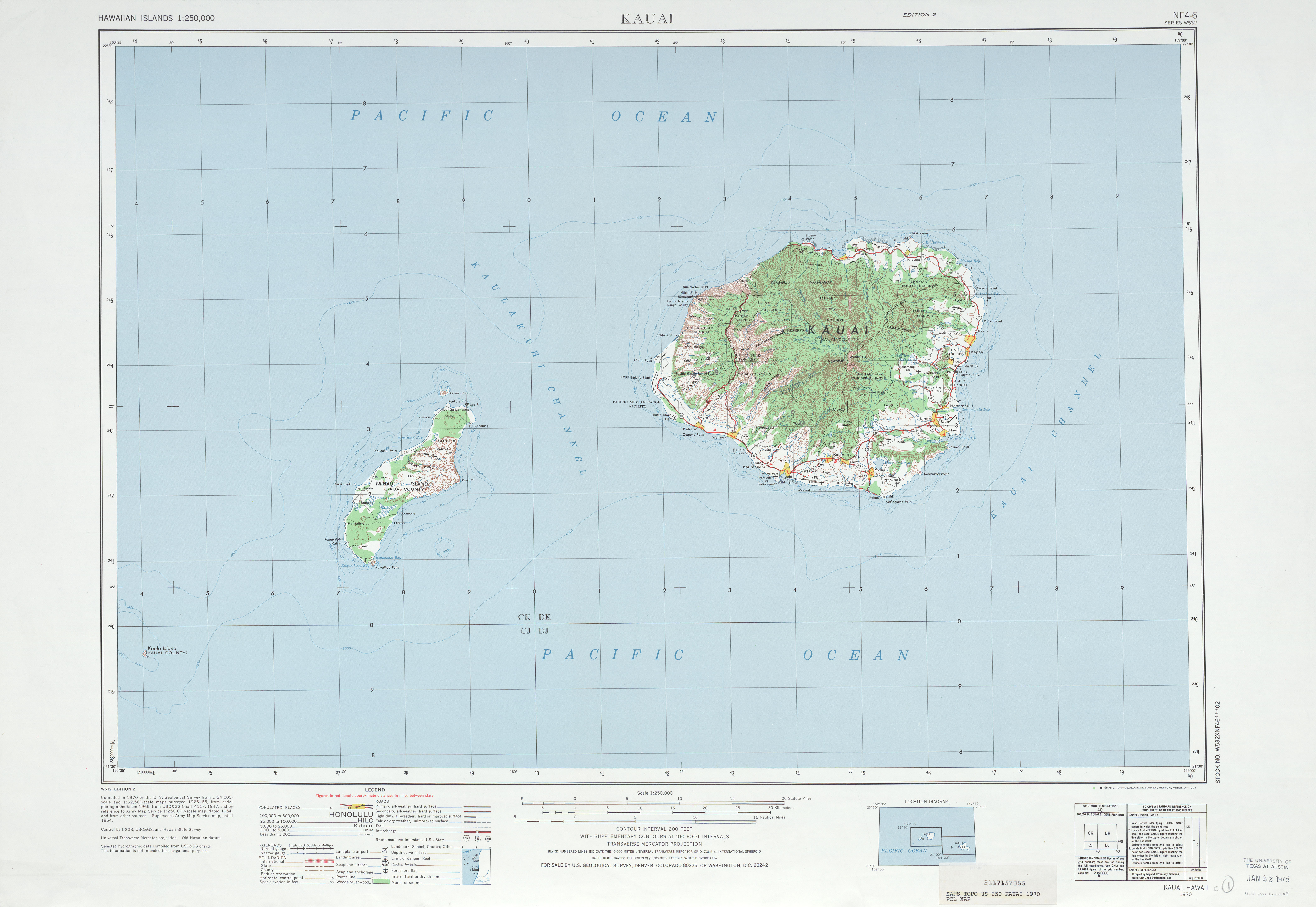 Hawaii Topographic Maps PerryCastañeda Map Collection UT - Hawaii on us map