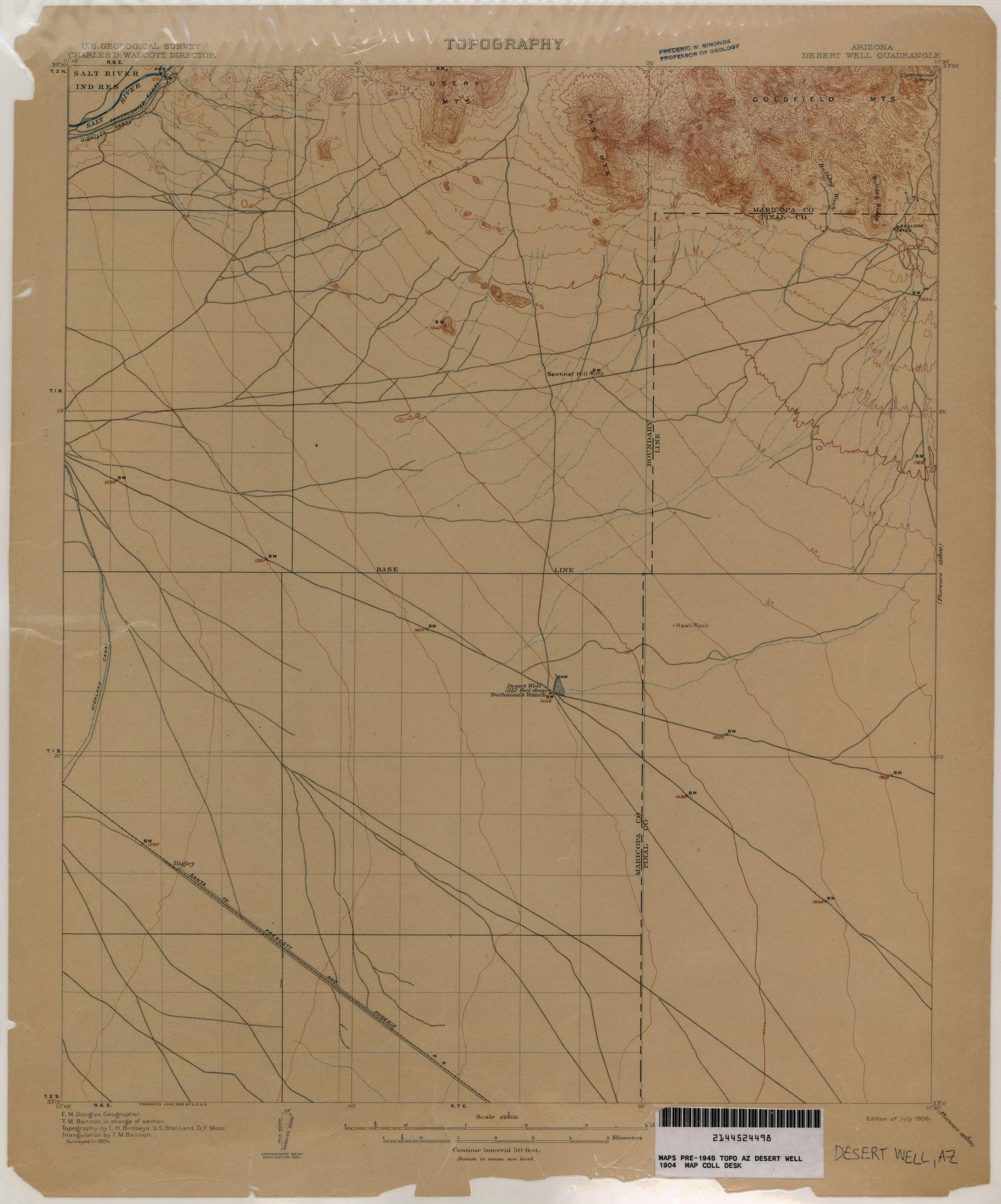 Topo Map Of Arizona.Arizona Historical Topographic Maps Perry Castaneda Map Collection