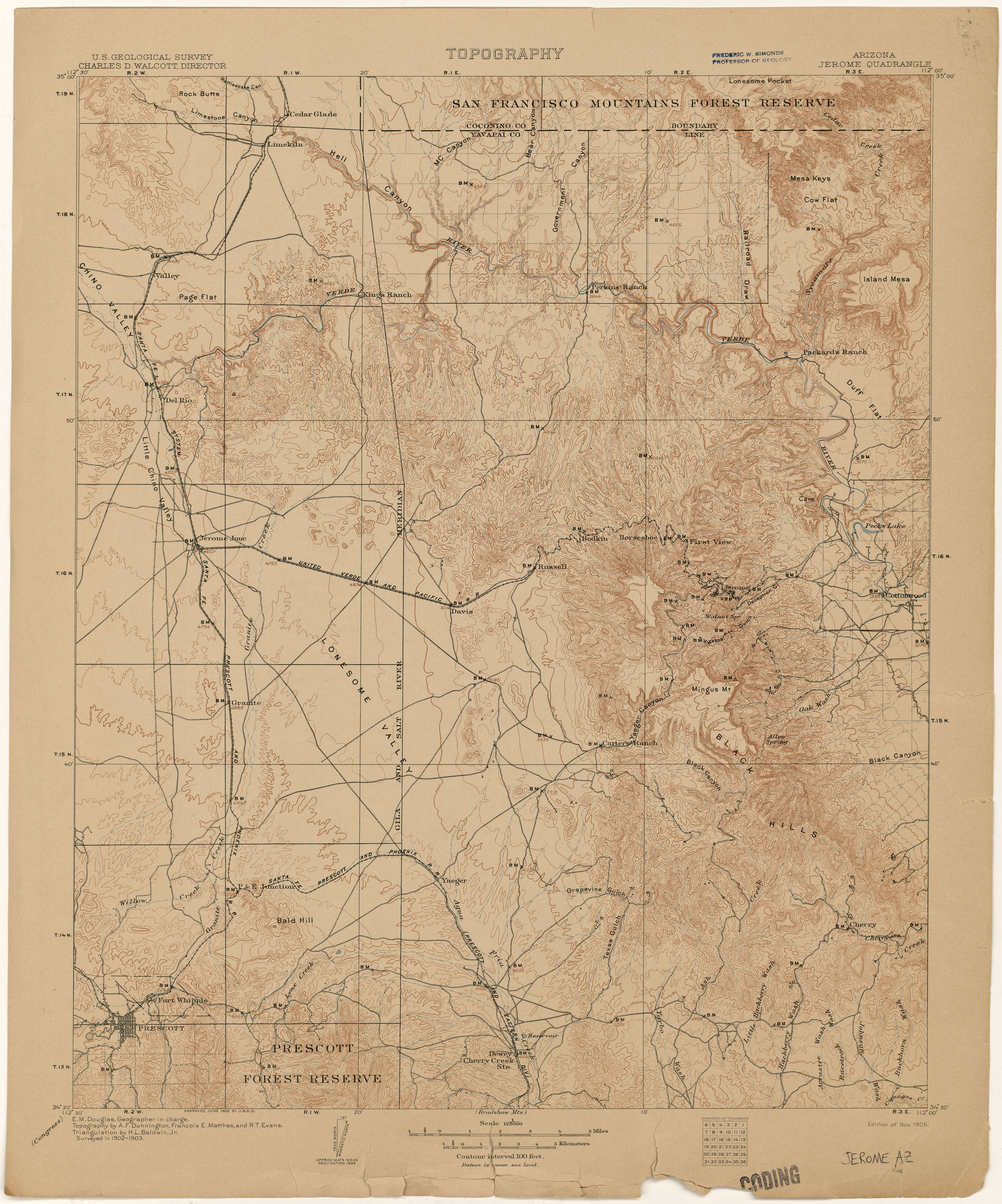 Map Of Arizona Including Jerome.Arizona Historical Topographic Maps Perry Castaneda Map Collection