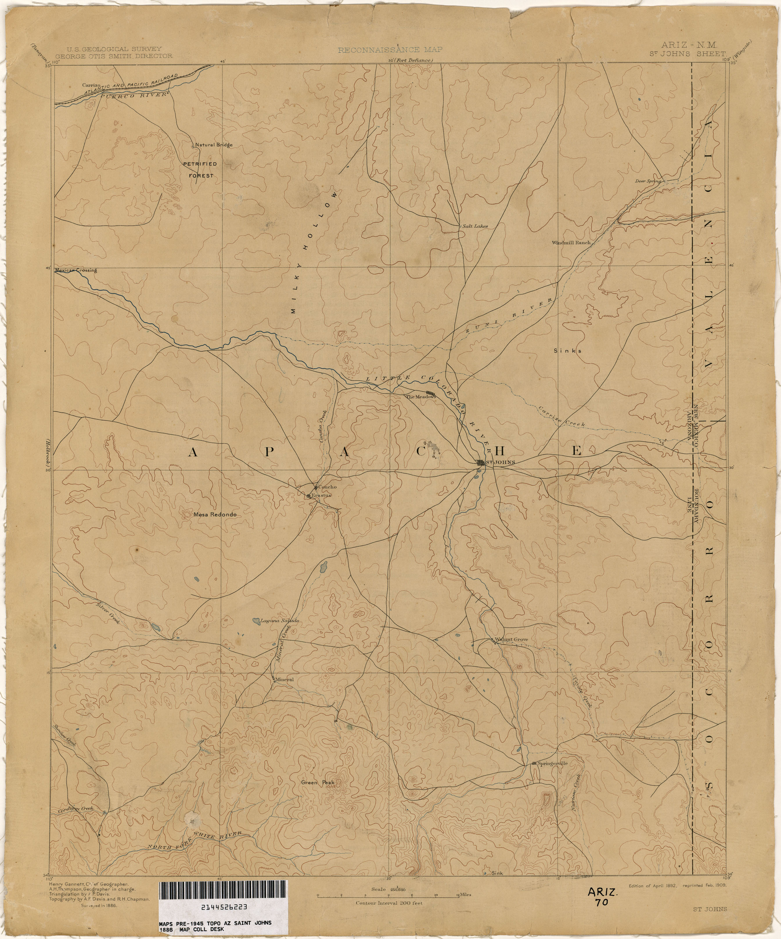 Map Of Saint Johns Arizona.Historical Maps In The Great Apache Forest