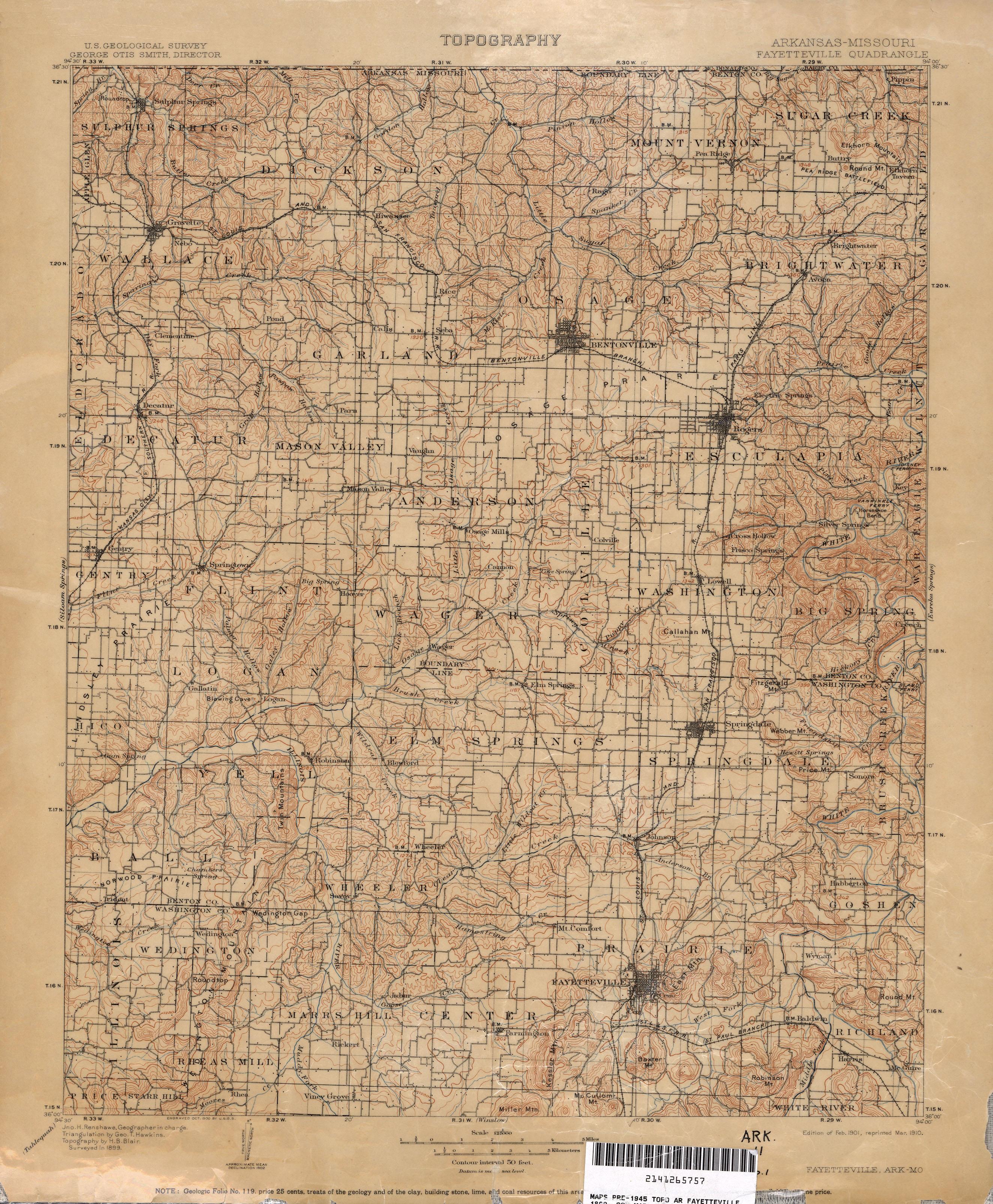 Topographic Map Of Nw Arkansas Surveyed In 1899 Arkansas