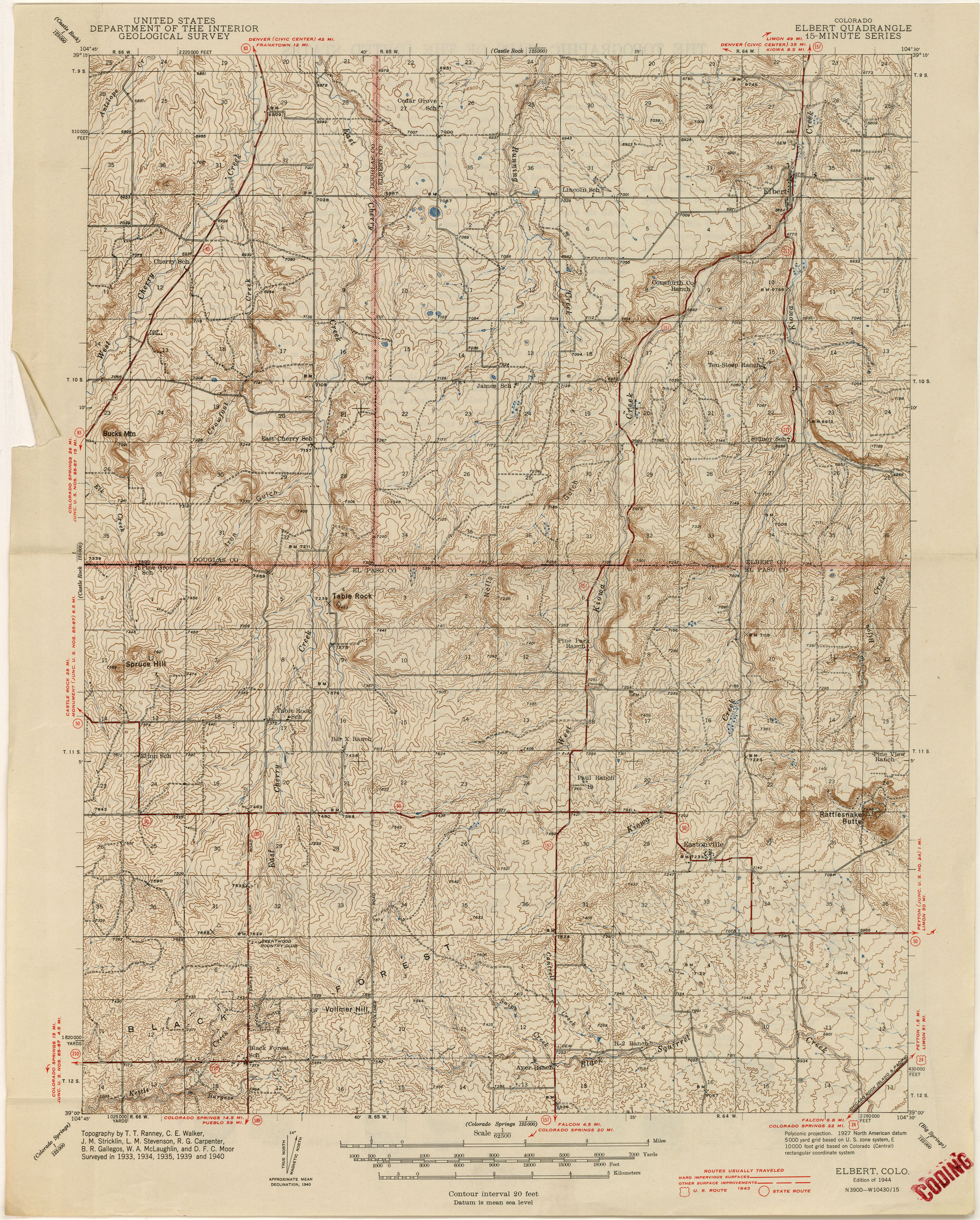 Colorado Historical Topographic Maps PerryCastañeda Map - Map from 1940 us