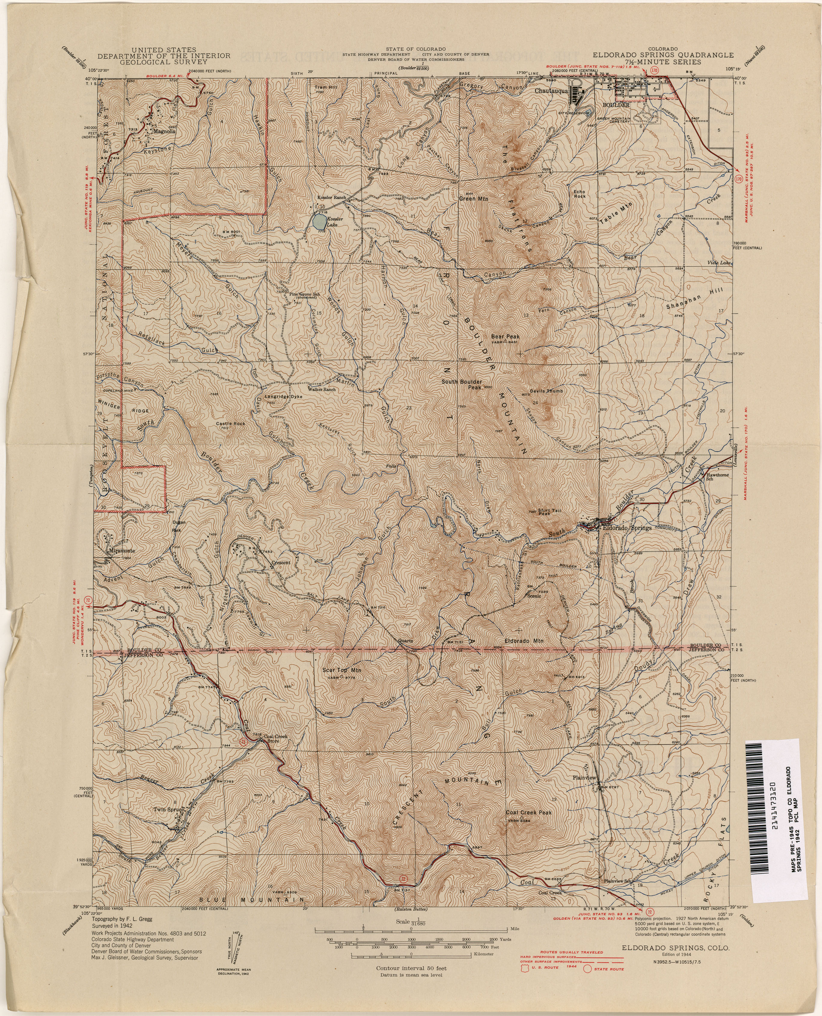 Colorado Historical Topographic Maps PerryCastañeda Map - Boulder colorado on a map of us