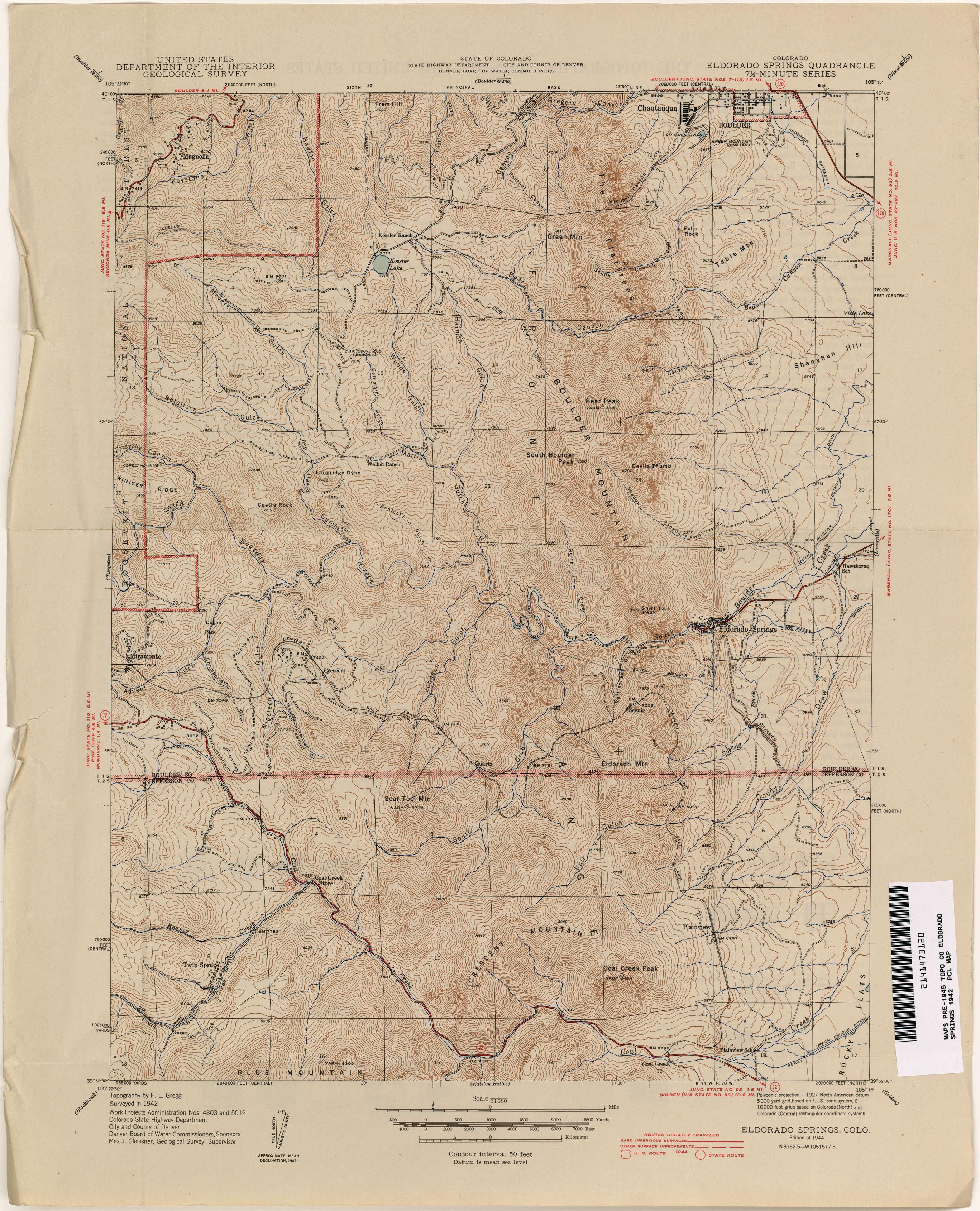 Topographic Map Colorado Springs.Colorado Historical Topographic Maps Perry Castaneda Map