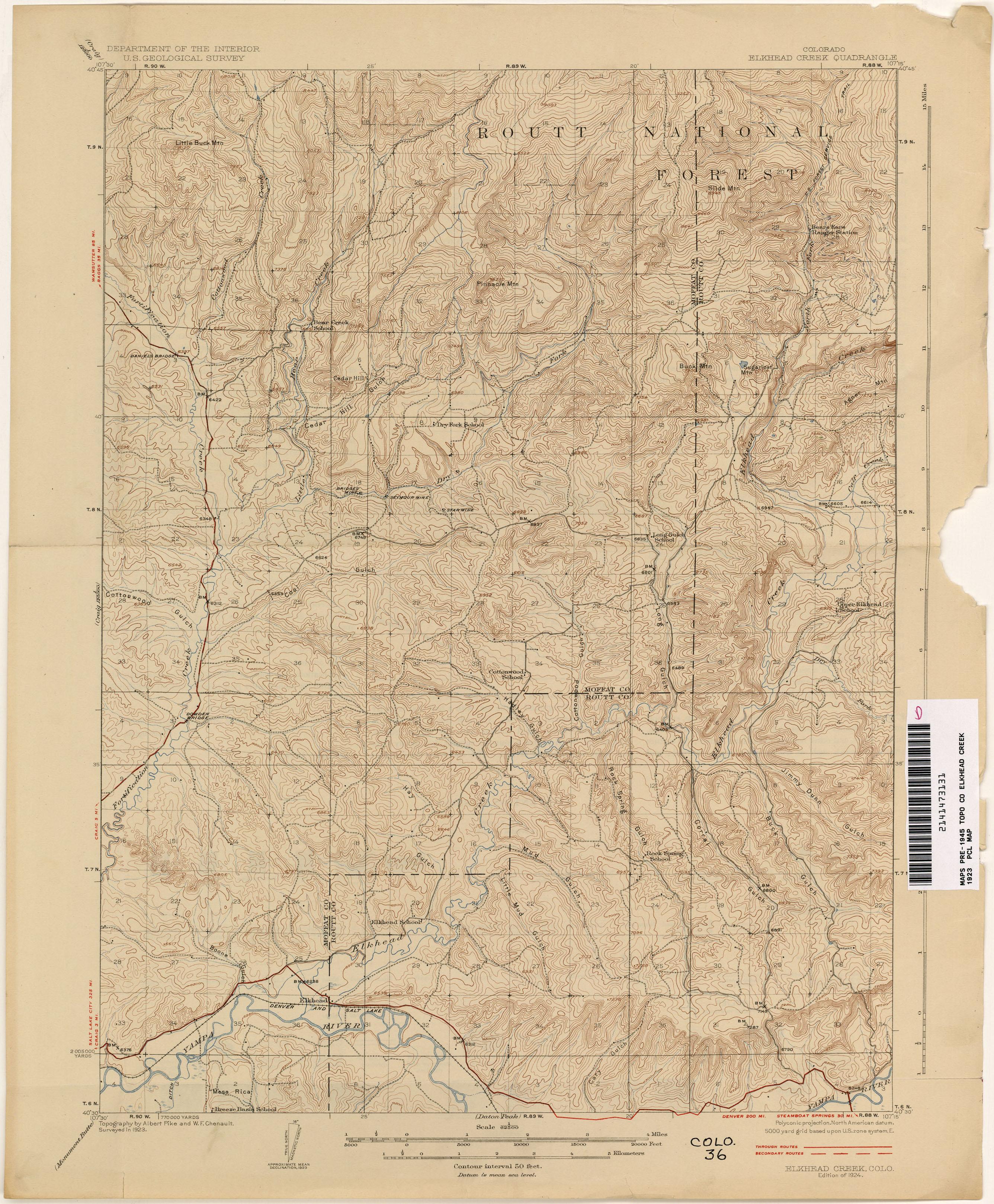 VINTAGE ANTIQUE 1947 BOULDER Colorado CO USGS Topographic Quadrangle Topo Map