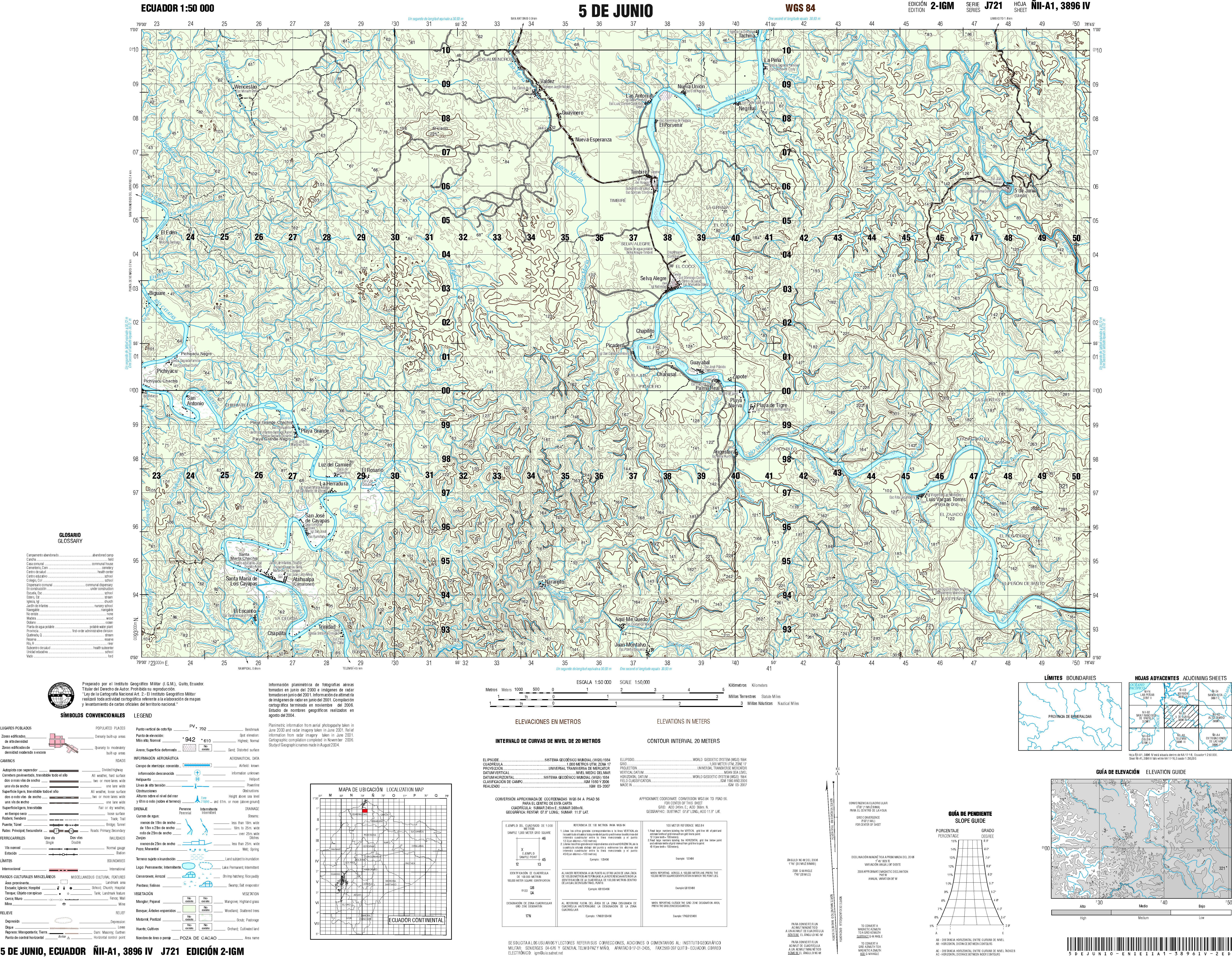 Ecuador Topographic Maps PerryCastaeda Map Collection UT