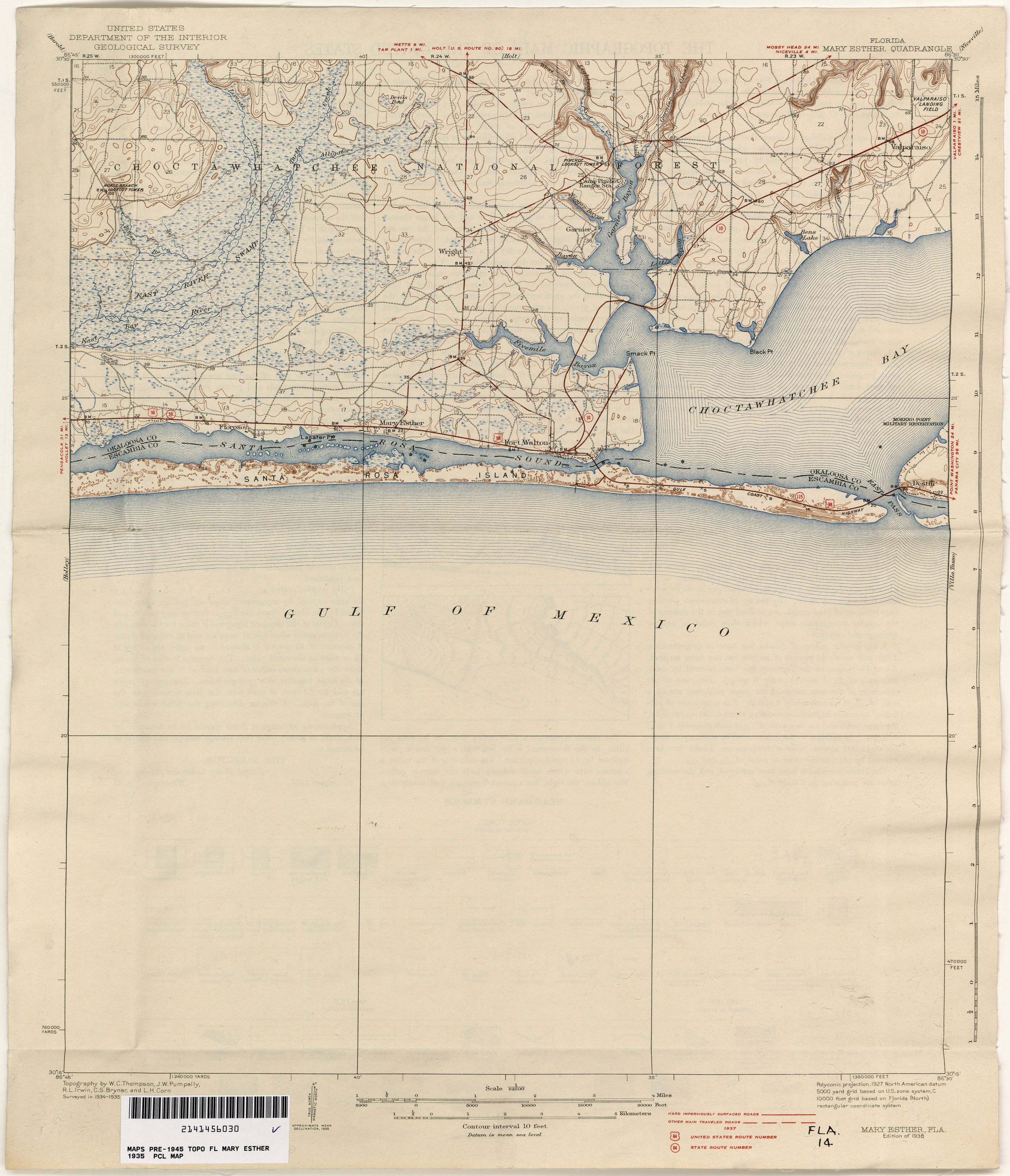 Map Of Mary Esther Florida.Florida Historical Topographic Maps Perry Castaneda Map Collection