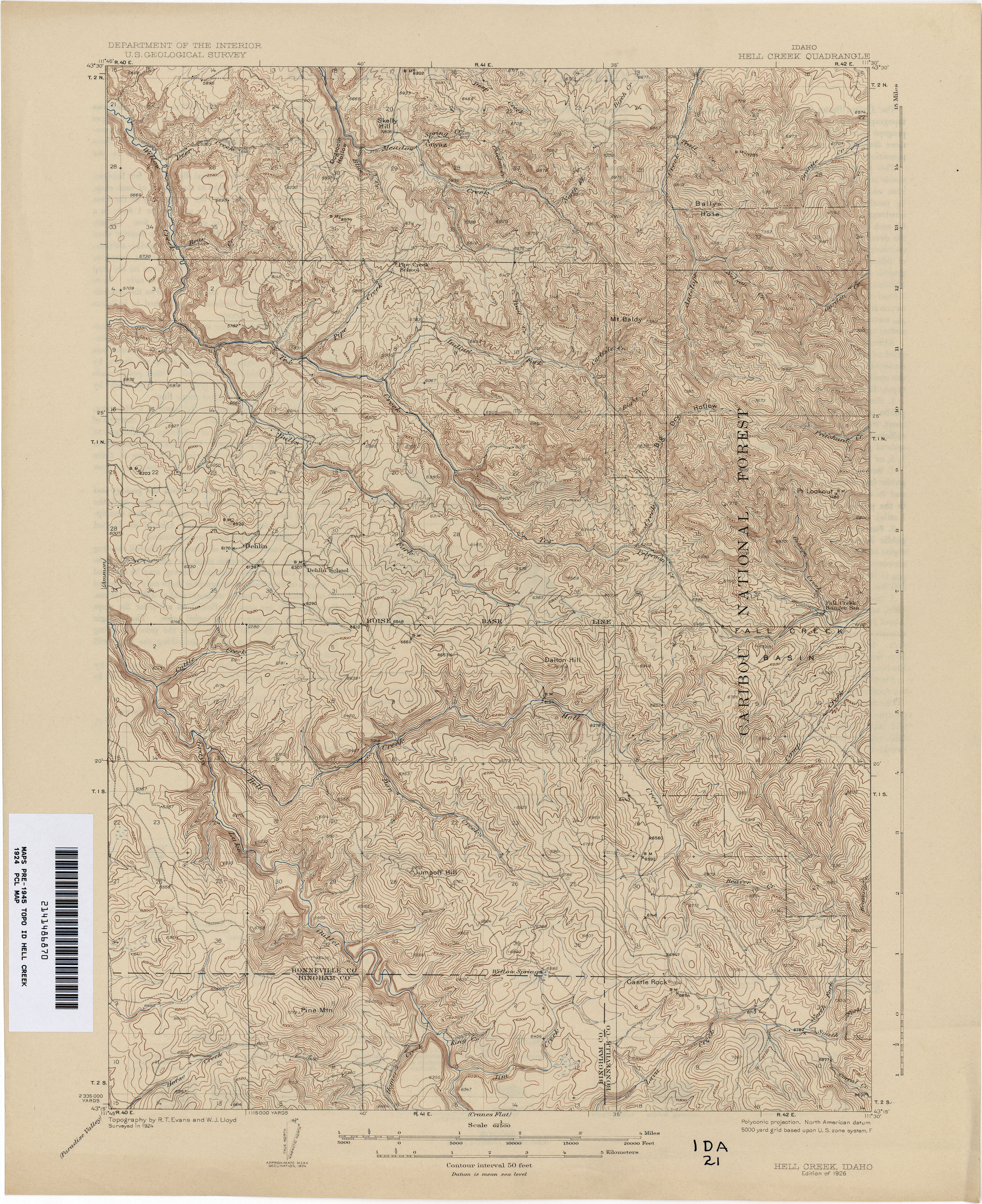 Idaho Historical Topographic Maps Perry Castaeda Map Collection Austin Flats Laken Beige 37