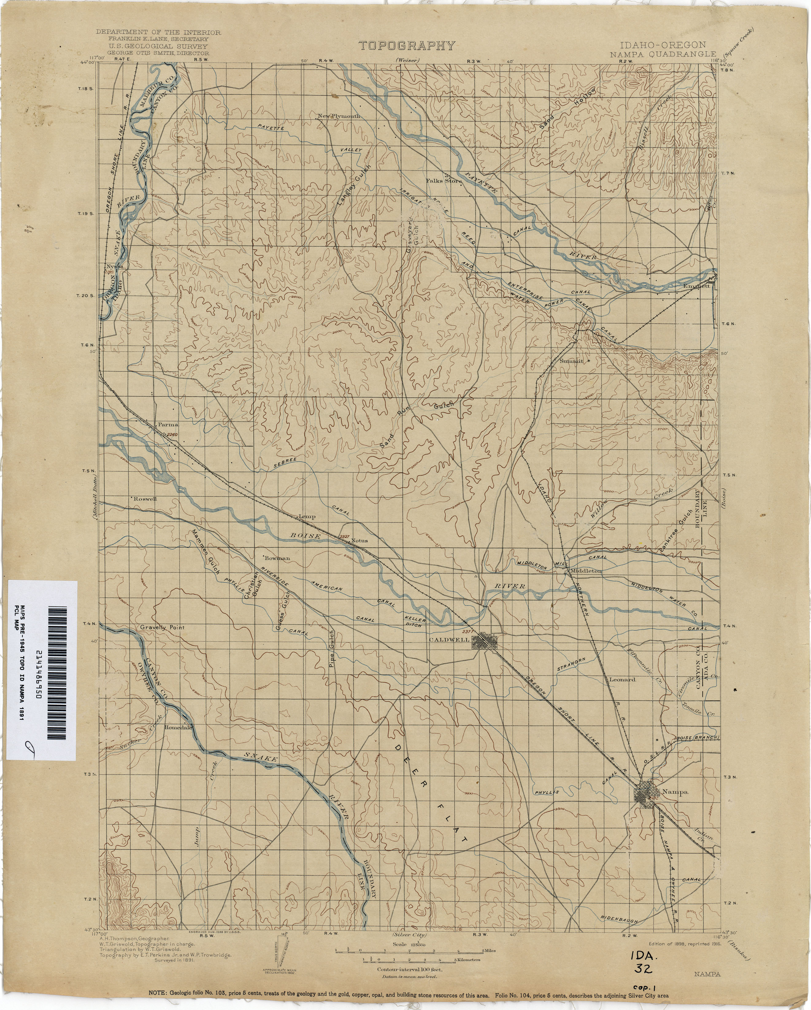 Idaho Historical Topographic Maps PerryCastaeda Map Collection