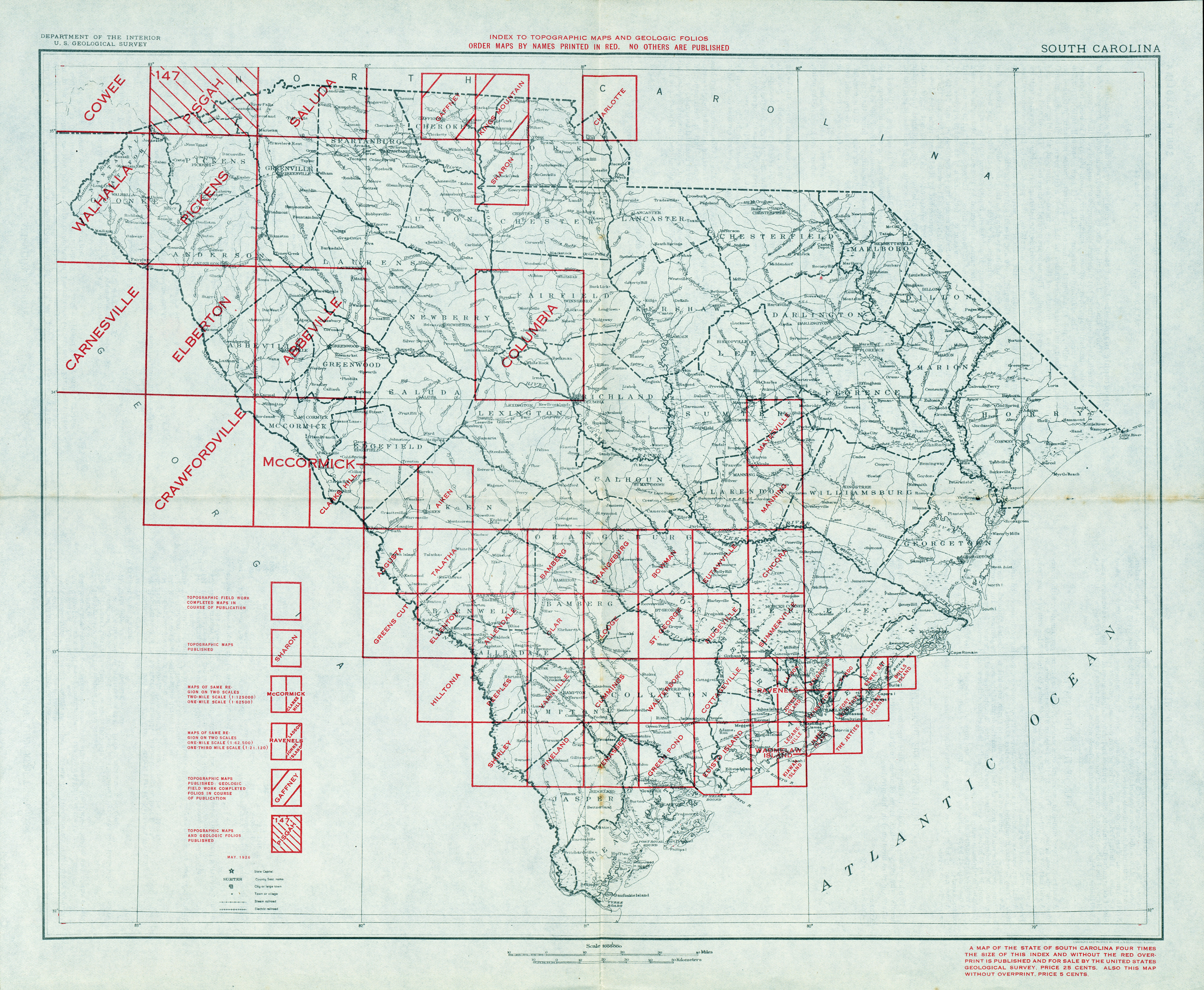 South Carolina Historical Topographic Maps PerryCastañeda Map - North carolina topographic map