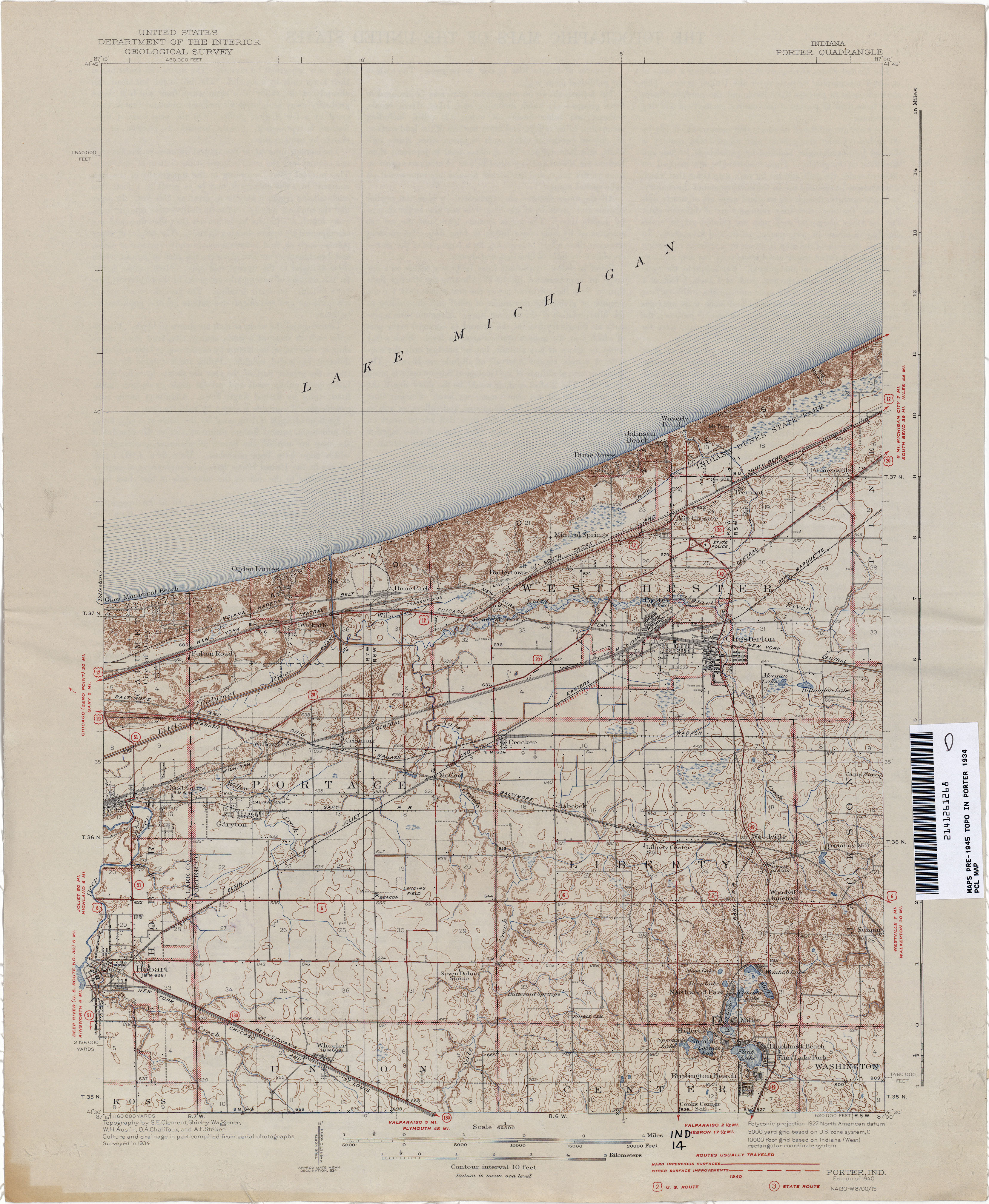 Porter Indiana Map.Indiana Historical Topographic Maps Perry Castaneda Map Collection