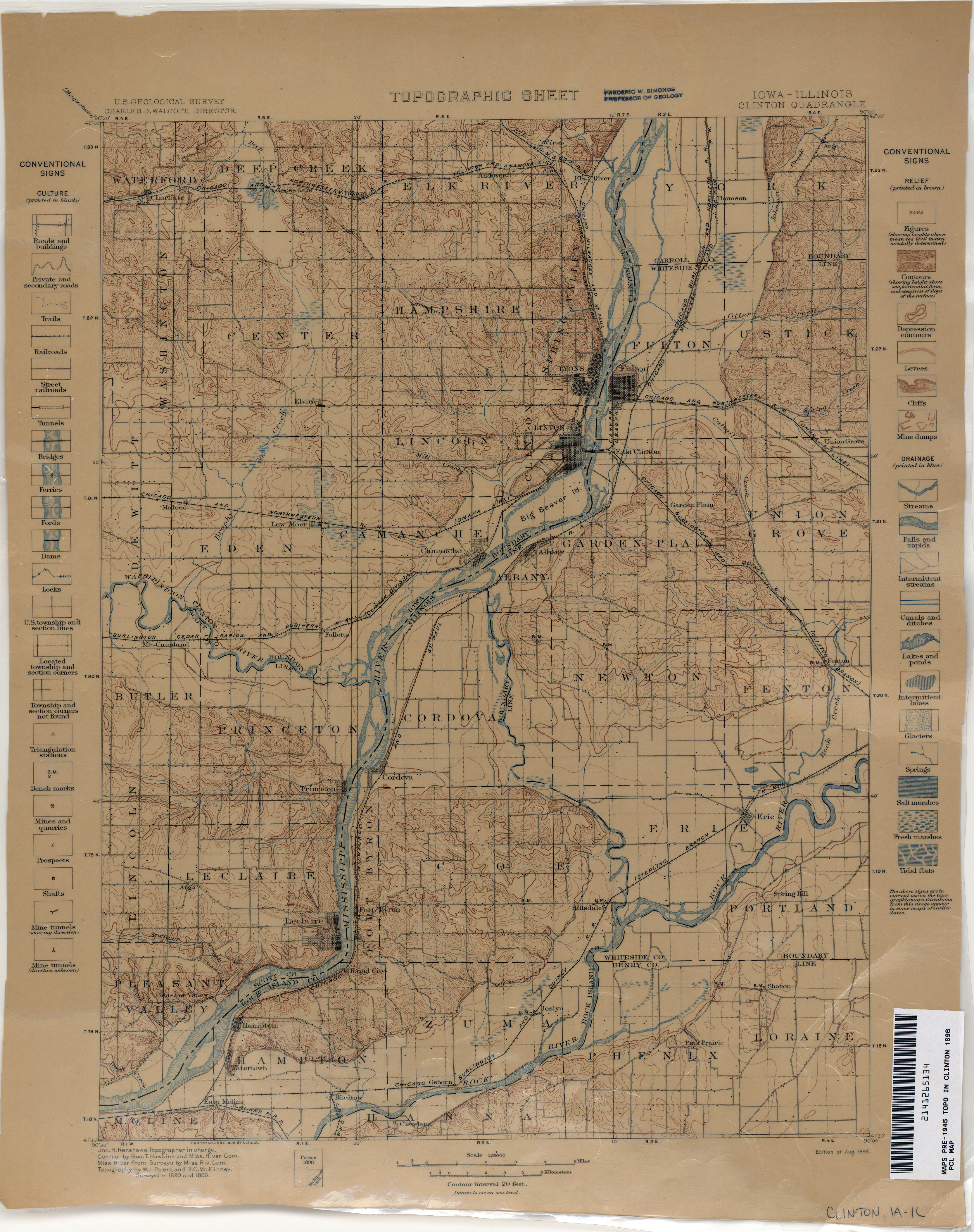Iowa Historical Topographic Maps PerryCastañeda Map Collection - 1896 map of us