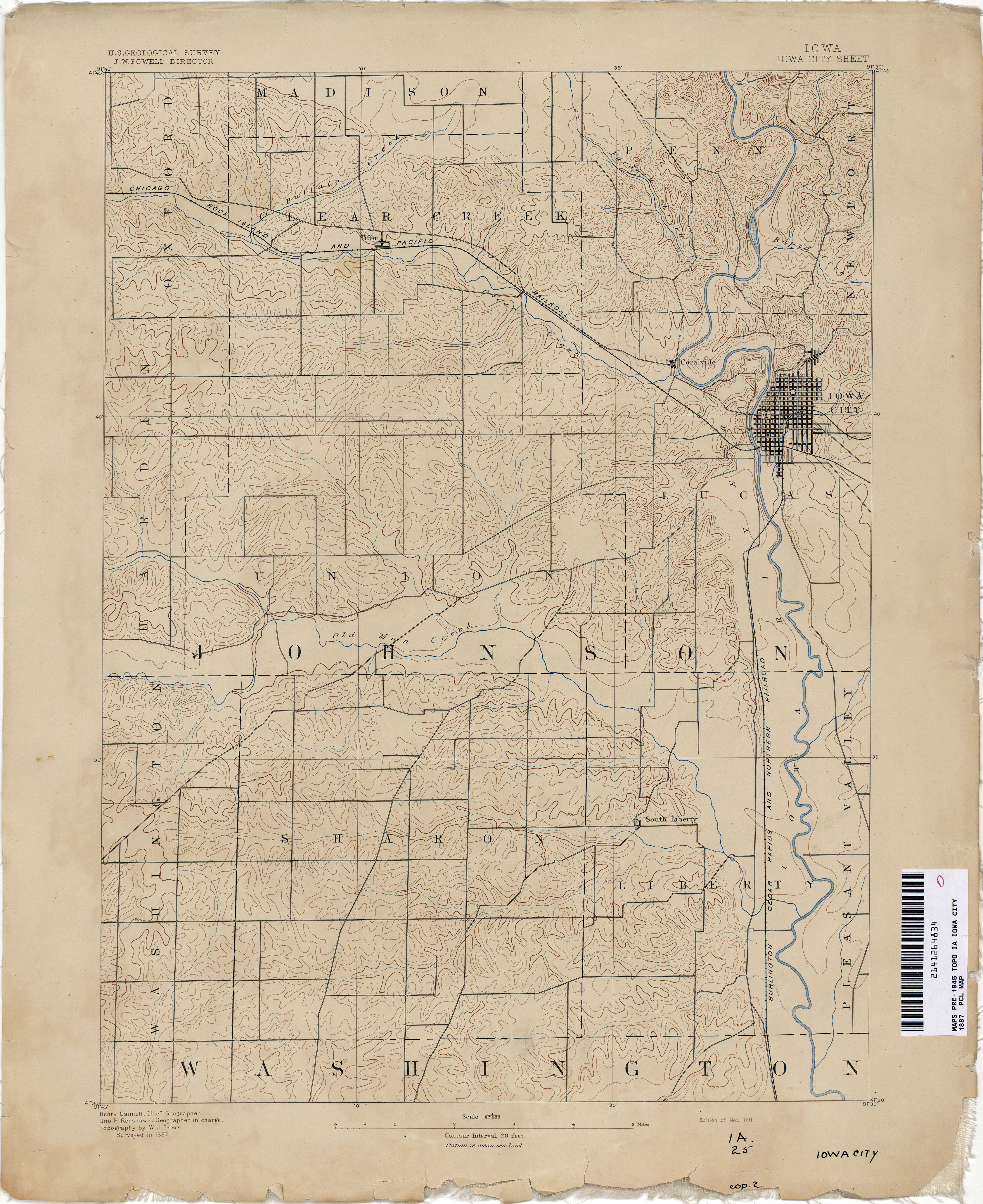 Iowa Historical Topographic Maps PerryCastañeda Map Collection - Map of iowa city