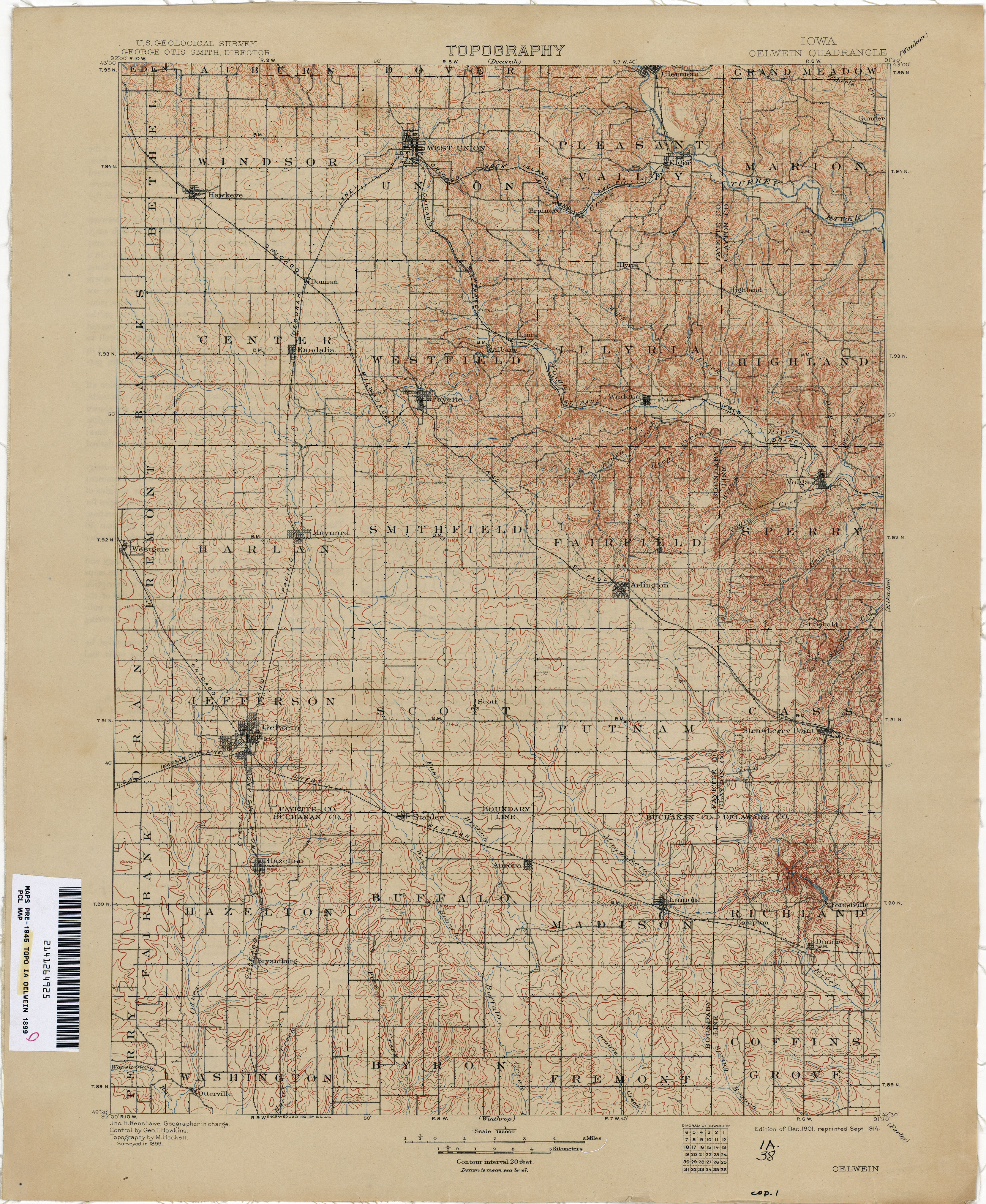 Oelwein Iowa Map.Iowa Historical Topographic Maps Perry Castaneda Map Collection