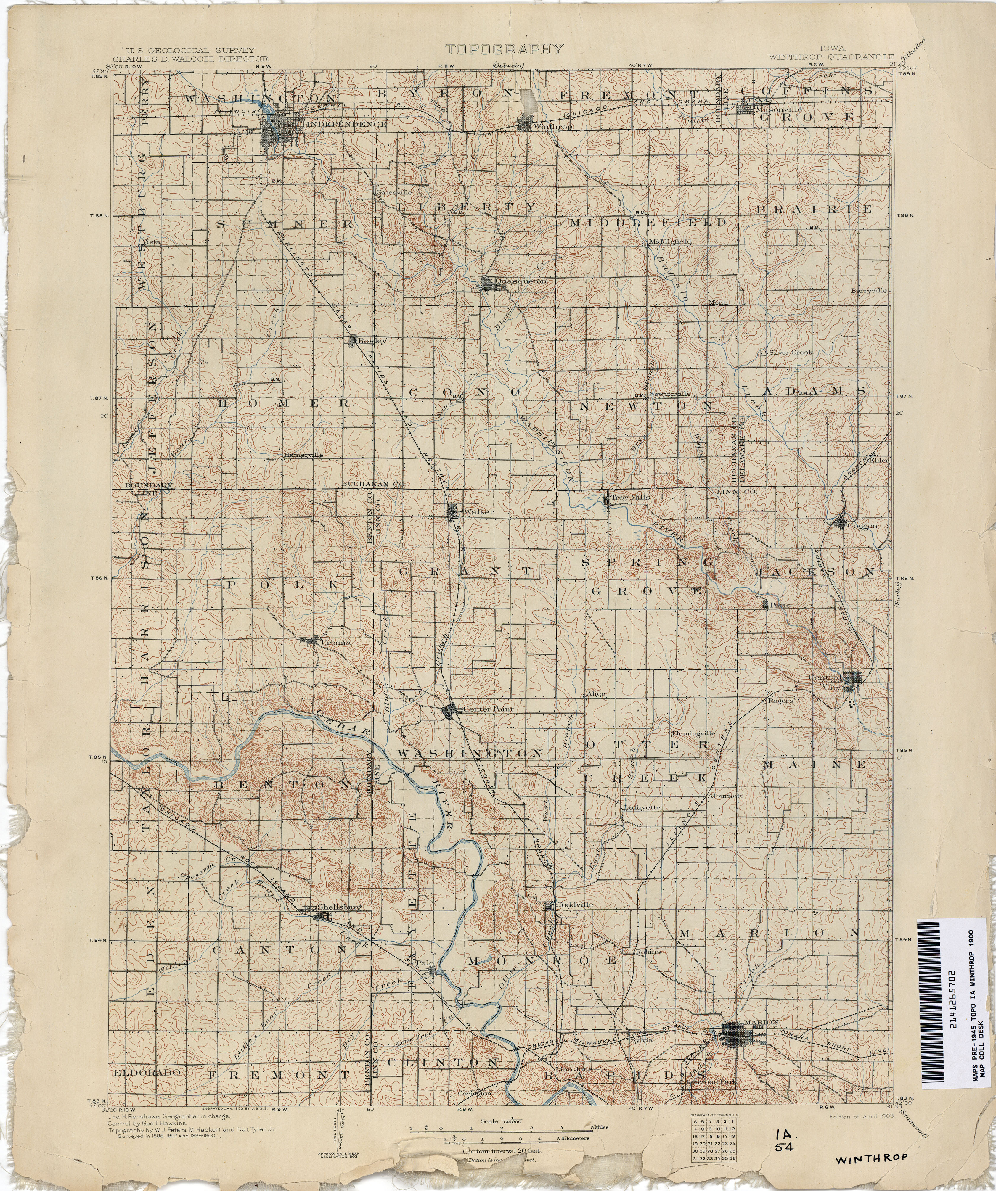 Old Iowa Map.Iowa Historical Topographic Maps Perry Castaneda Map Collection