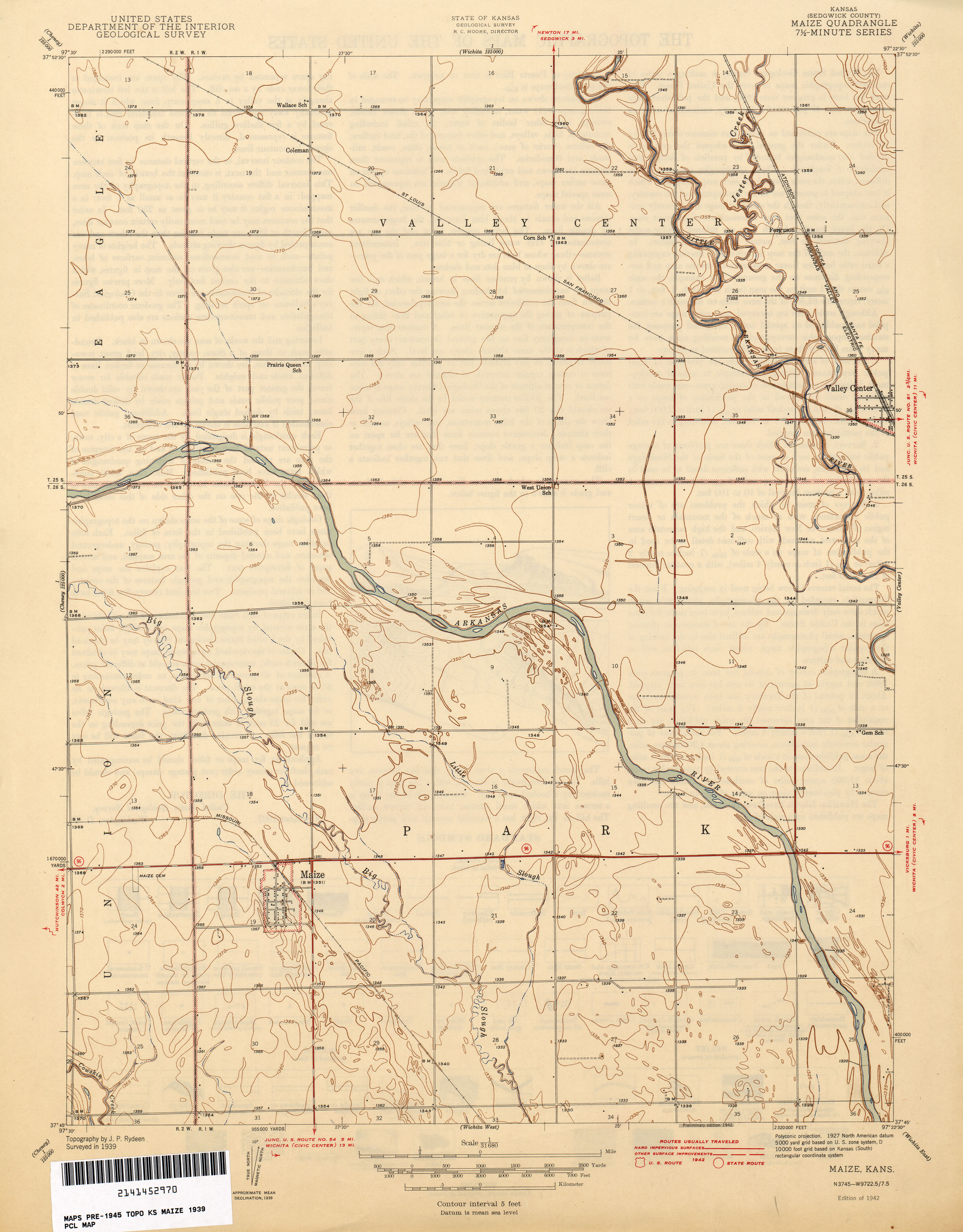 Kansas Historical Topographic Maps PerryCastañeda Map - Us map topography