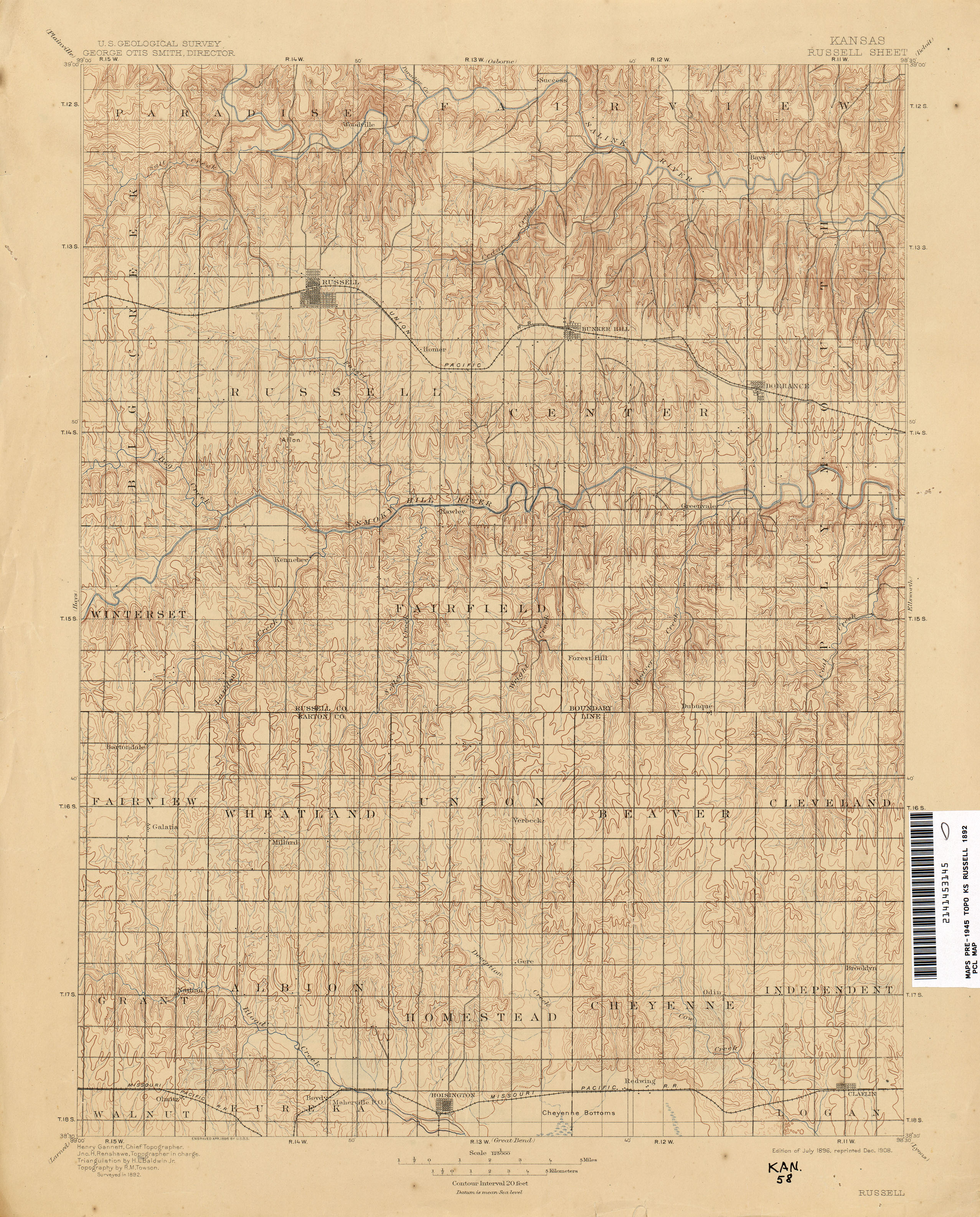 Kansas Historical Topographic Maps PerryCastañeda Map - Kansas map us