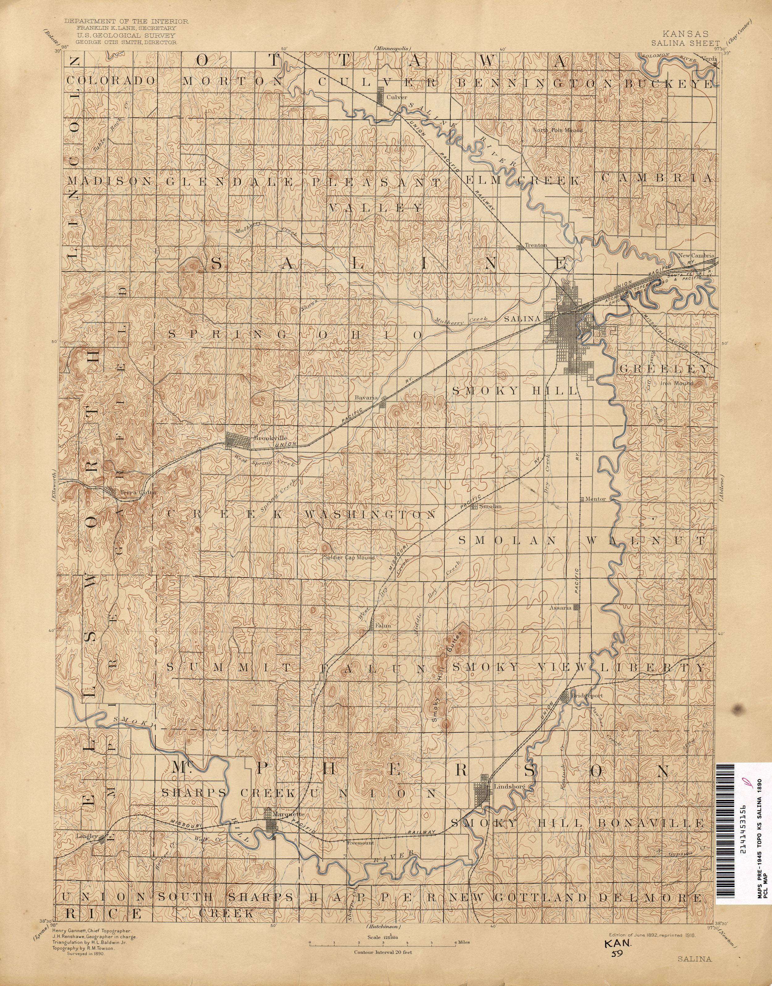 Kansas Historical Topographic Maps PerryCastañeda Map - Salinas ks us map