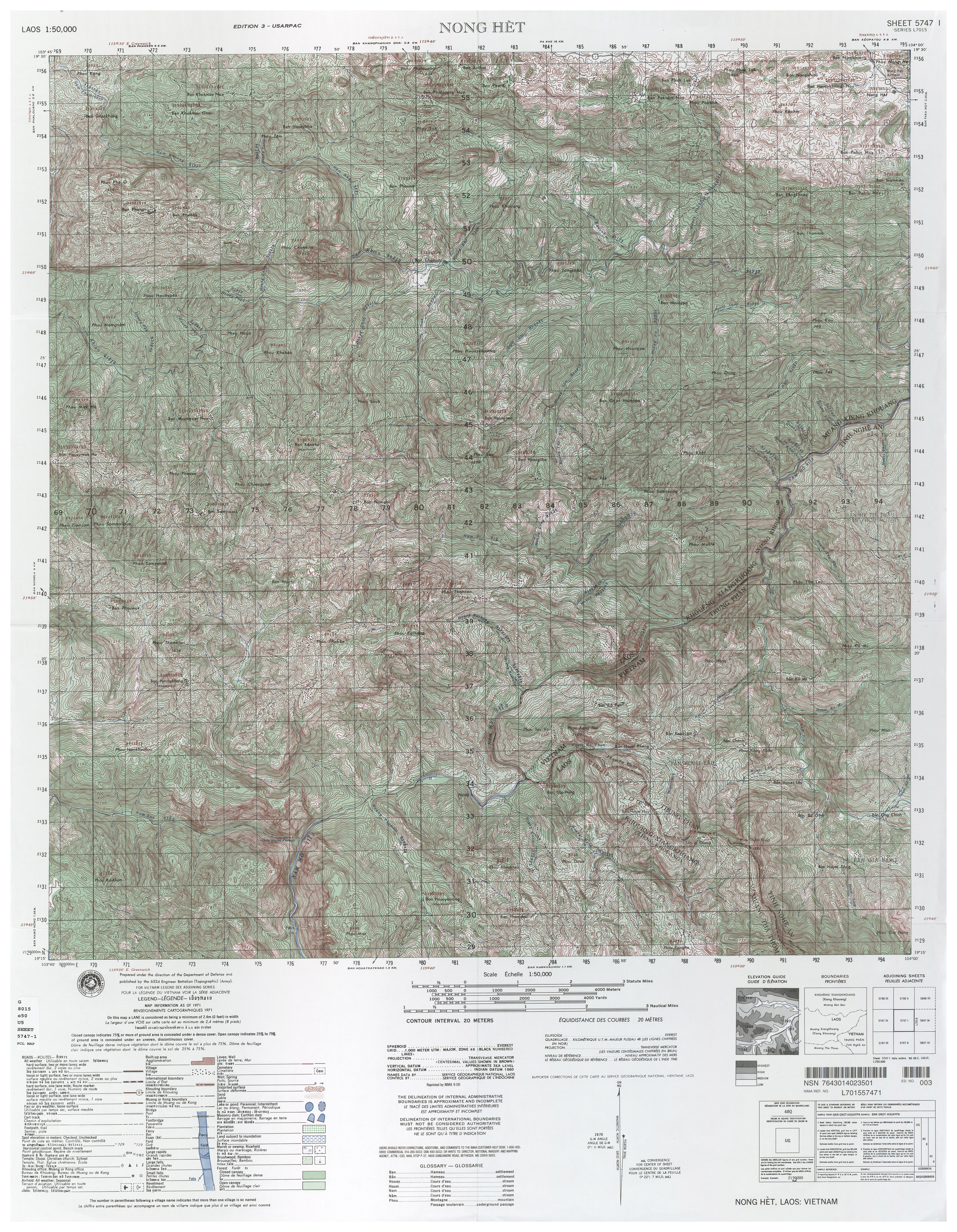 Laos Topographic Maps PerryCastañeda Map Collection UT - 1 50000 topo map us military