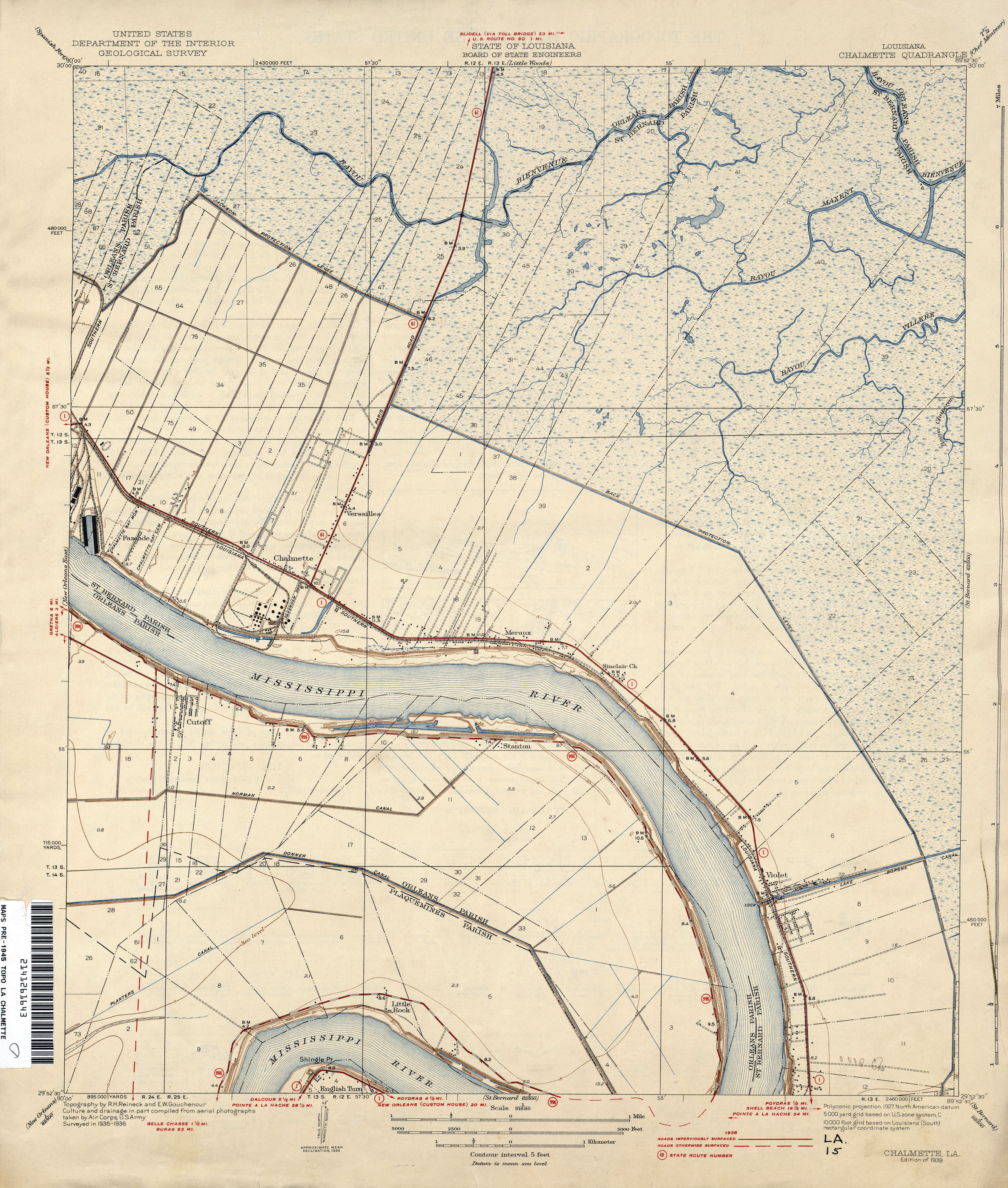 Louisiana Topographic Maps PerryCastañeda Map Collection UT - Map of state of la