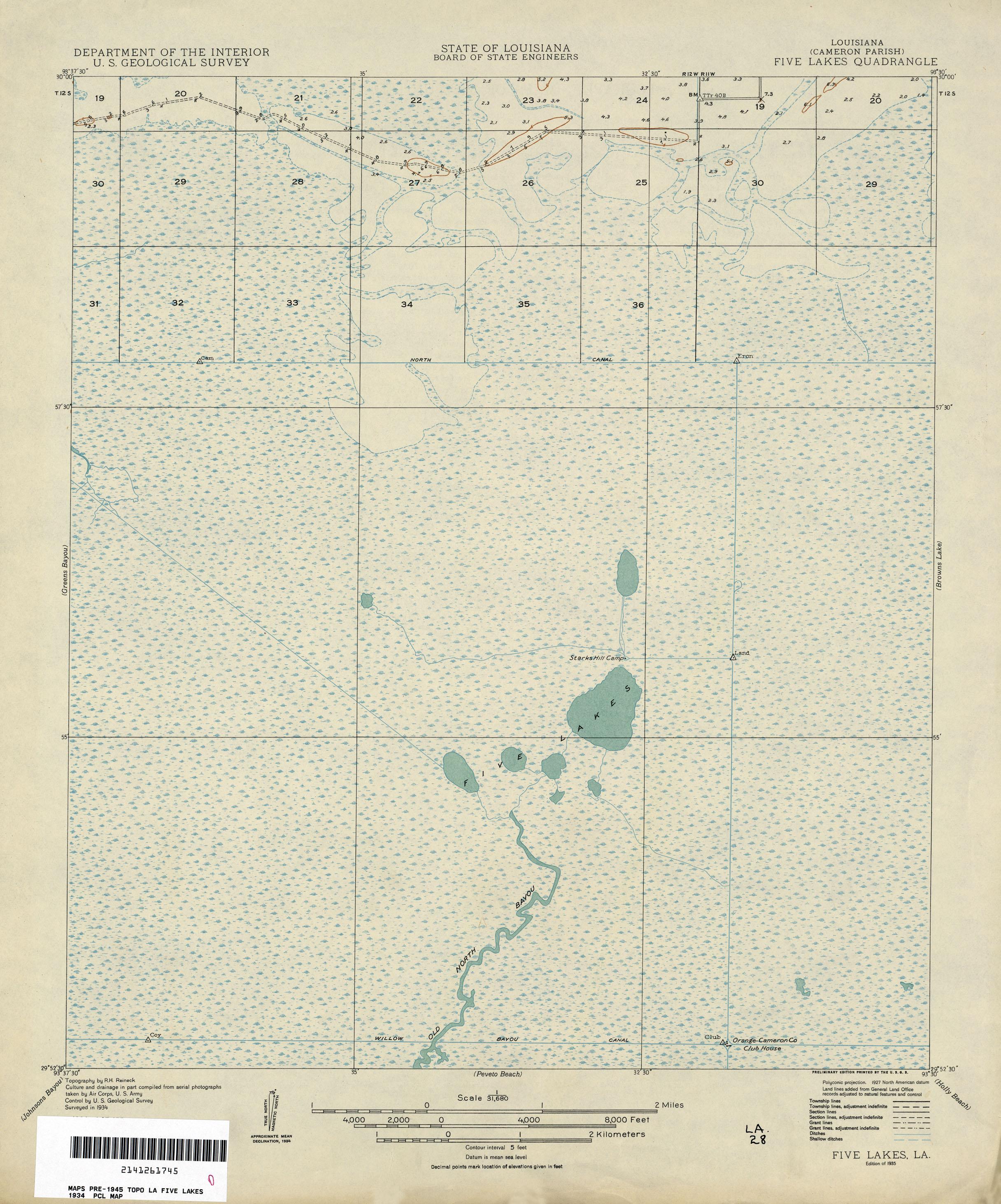 Louisiana Topographic Maps PerryCastañeda Map Collection UT - Louisiana lakes map