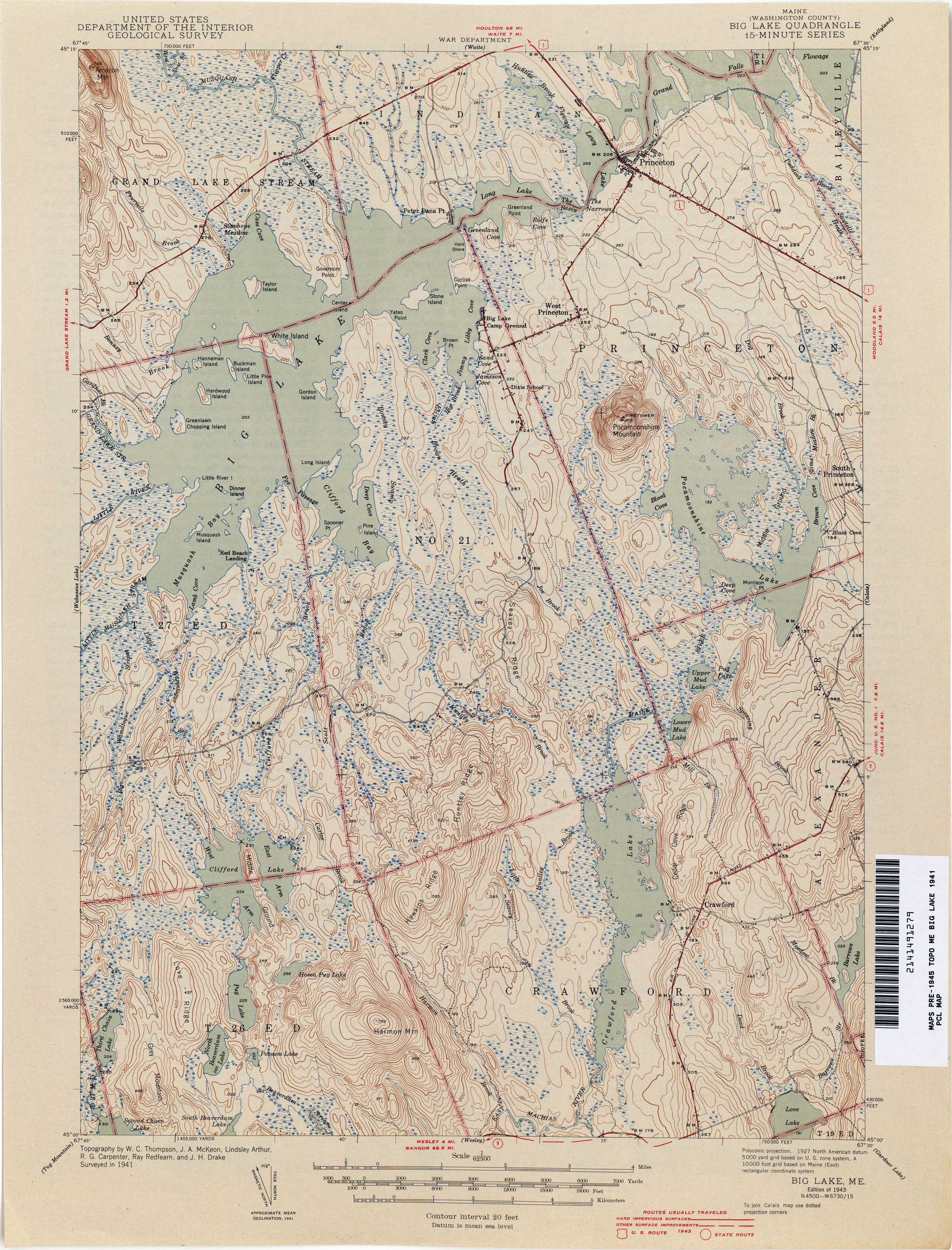 maine historical topographic maps  perrycastañeda map collection  -  big lake