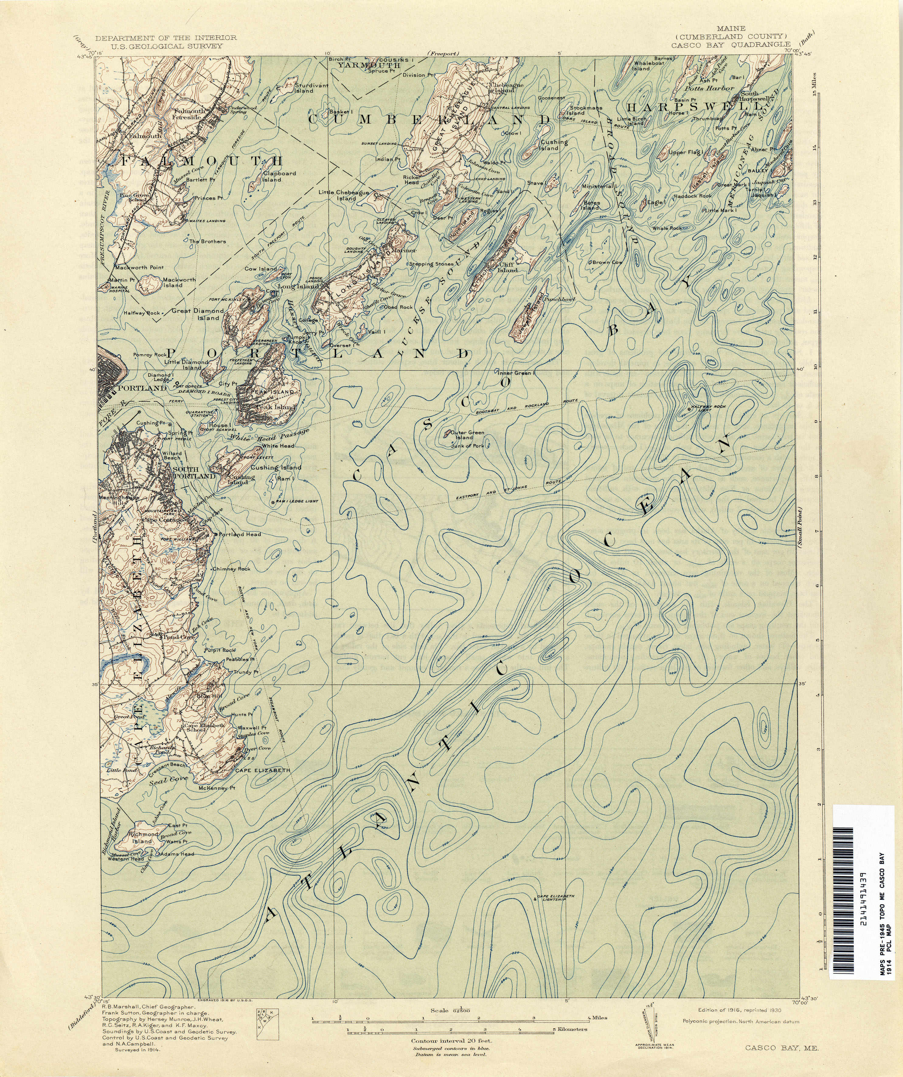 Maine historical topographic maps perry castaeda map collection casco bay freerunsca Image collections