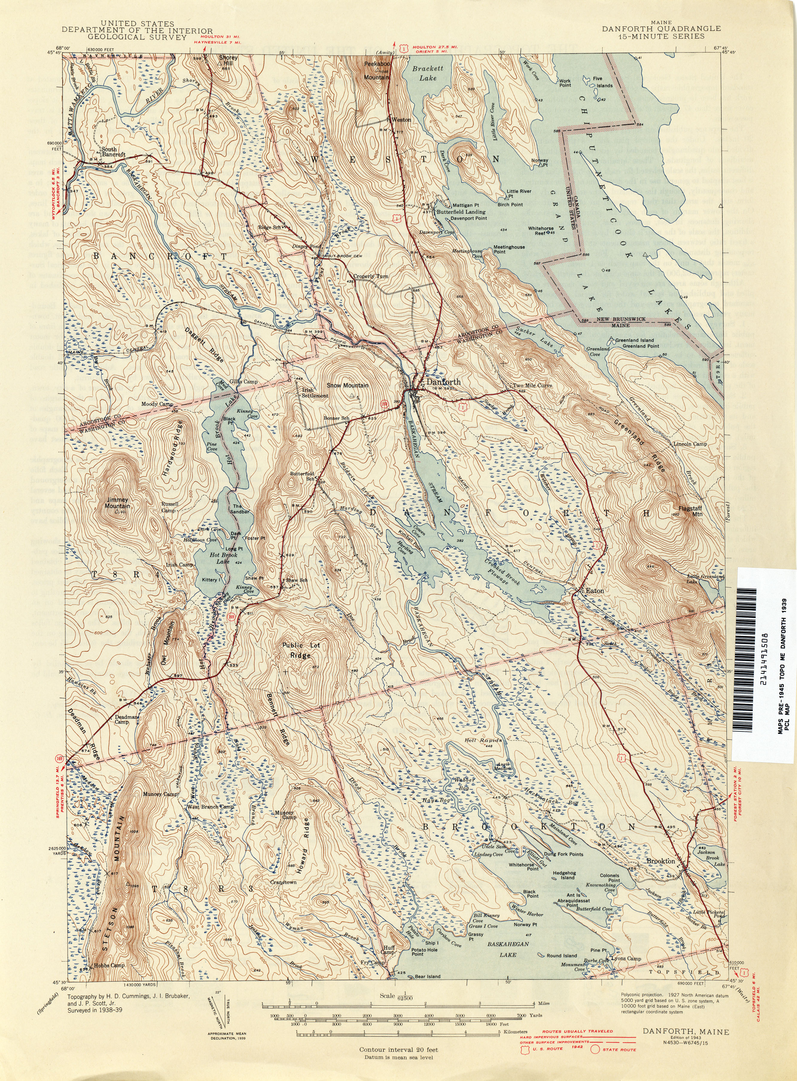 Danforth Maine Map.Maine Historical Topographic Maps Perry Castaneda Map Collection