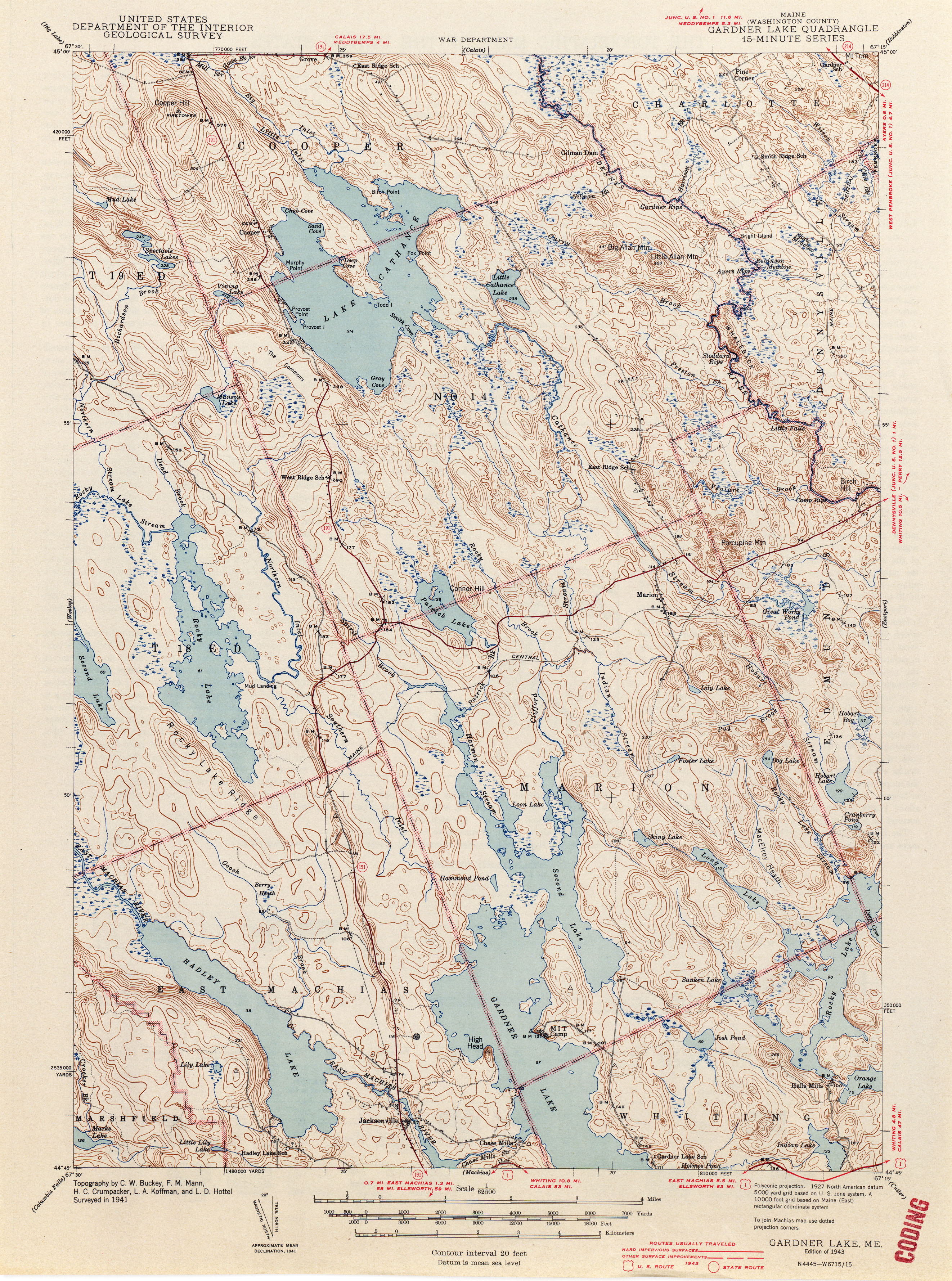 Maine Historical Topographic Maps PerryCastañeda Map Collection - Maine lakes map