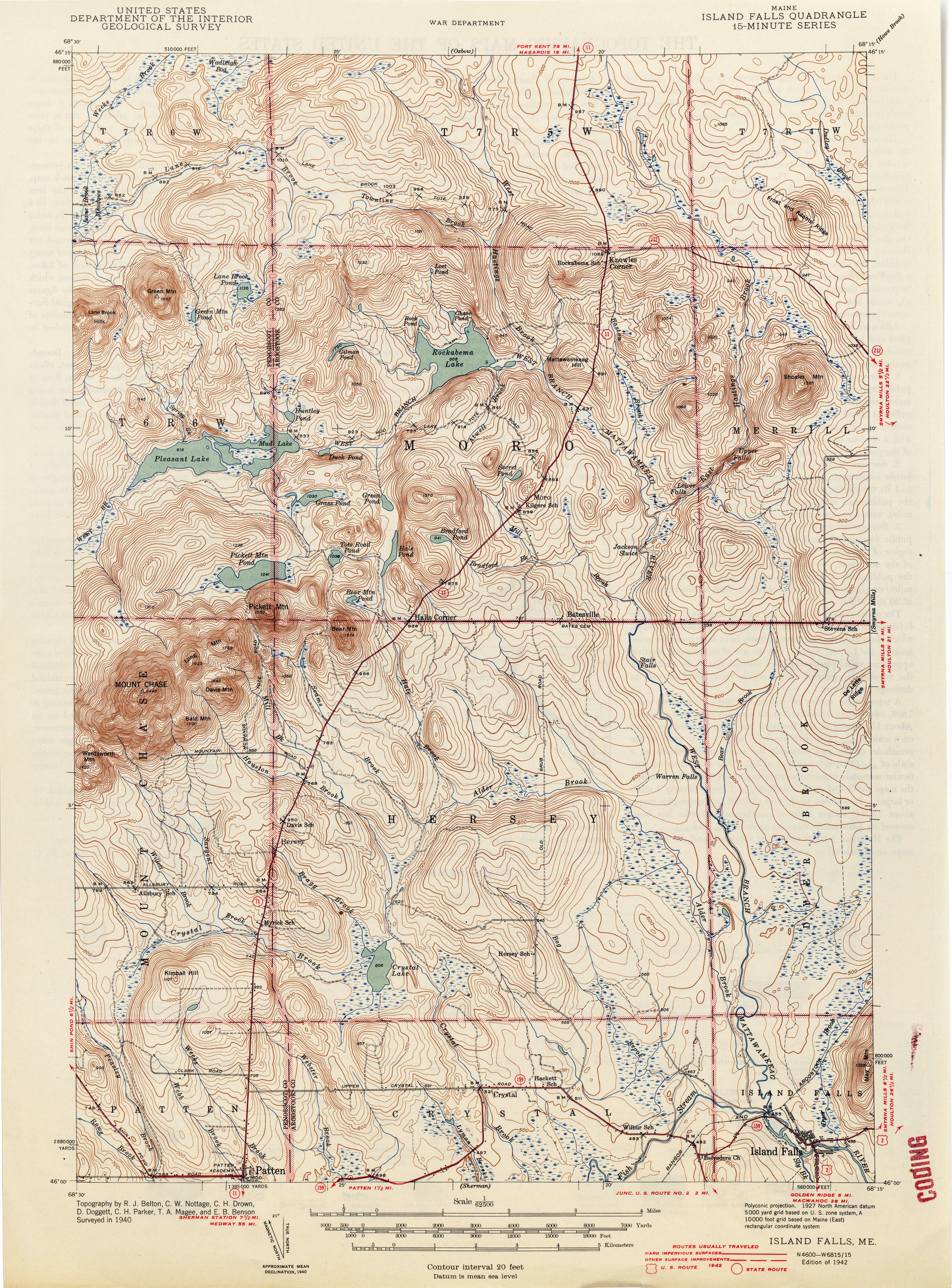 Maine Historical Topographic Maps PerryCastañeda Map Collection - Map from 1940 us