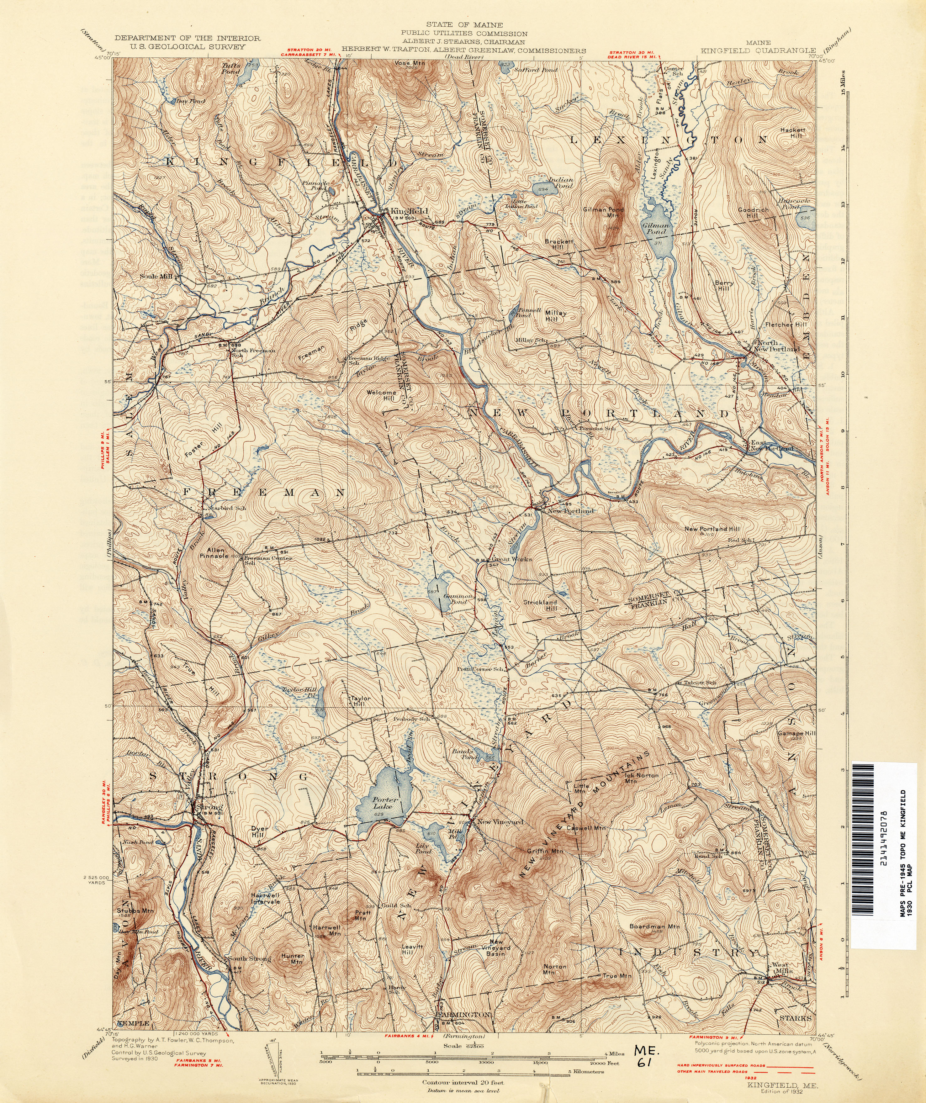 Kingfield Maine Map.Maine Historical Topographic Maps Perry Castaneda Map Collection
