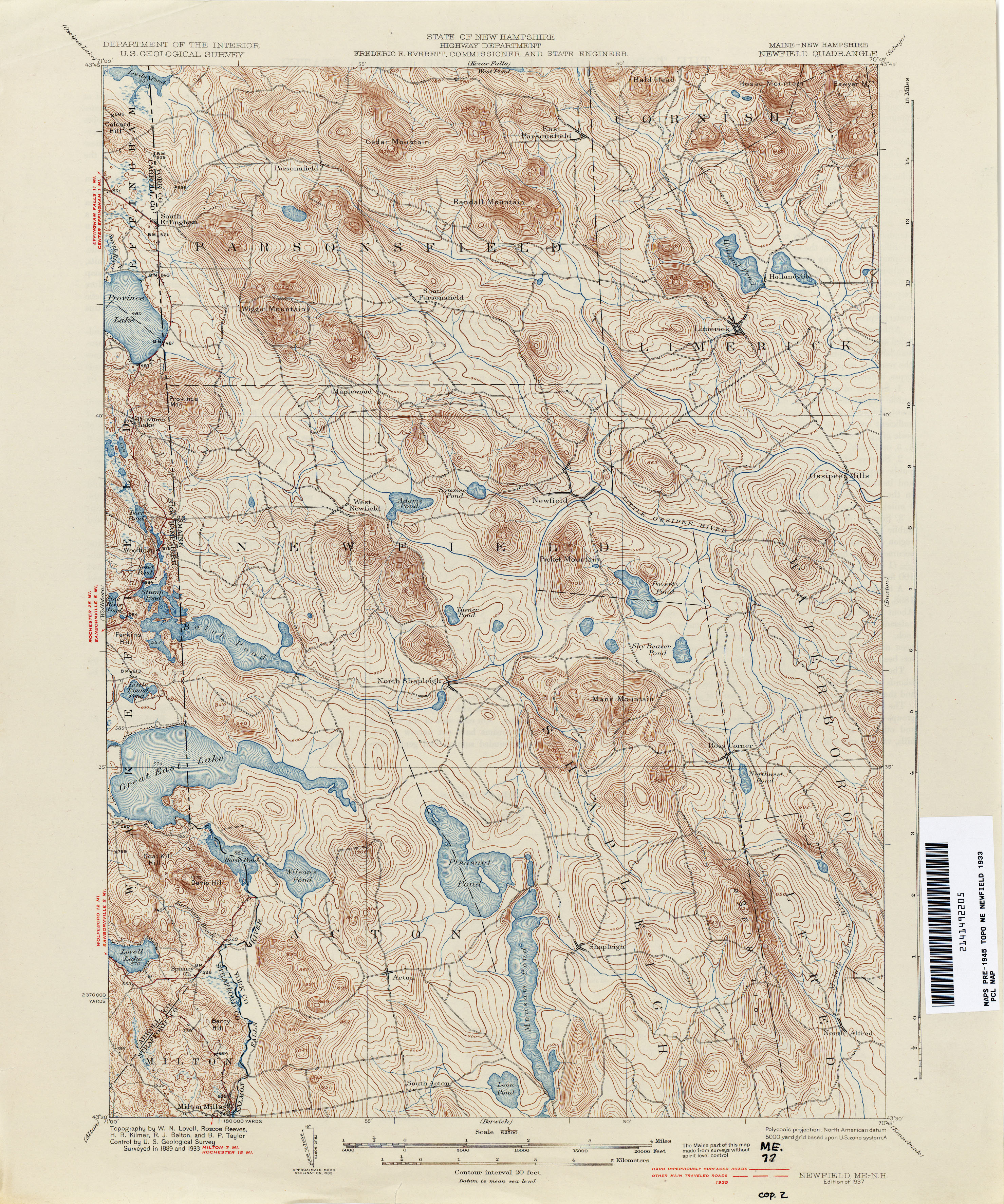 New hampshire topographic maps perry castaeda map collection newfield sciox Image collections