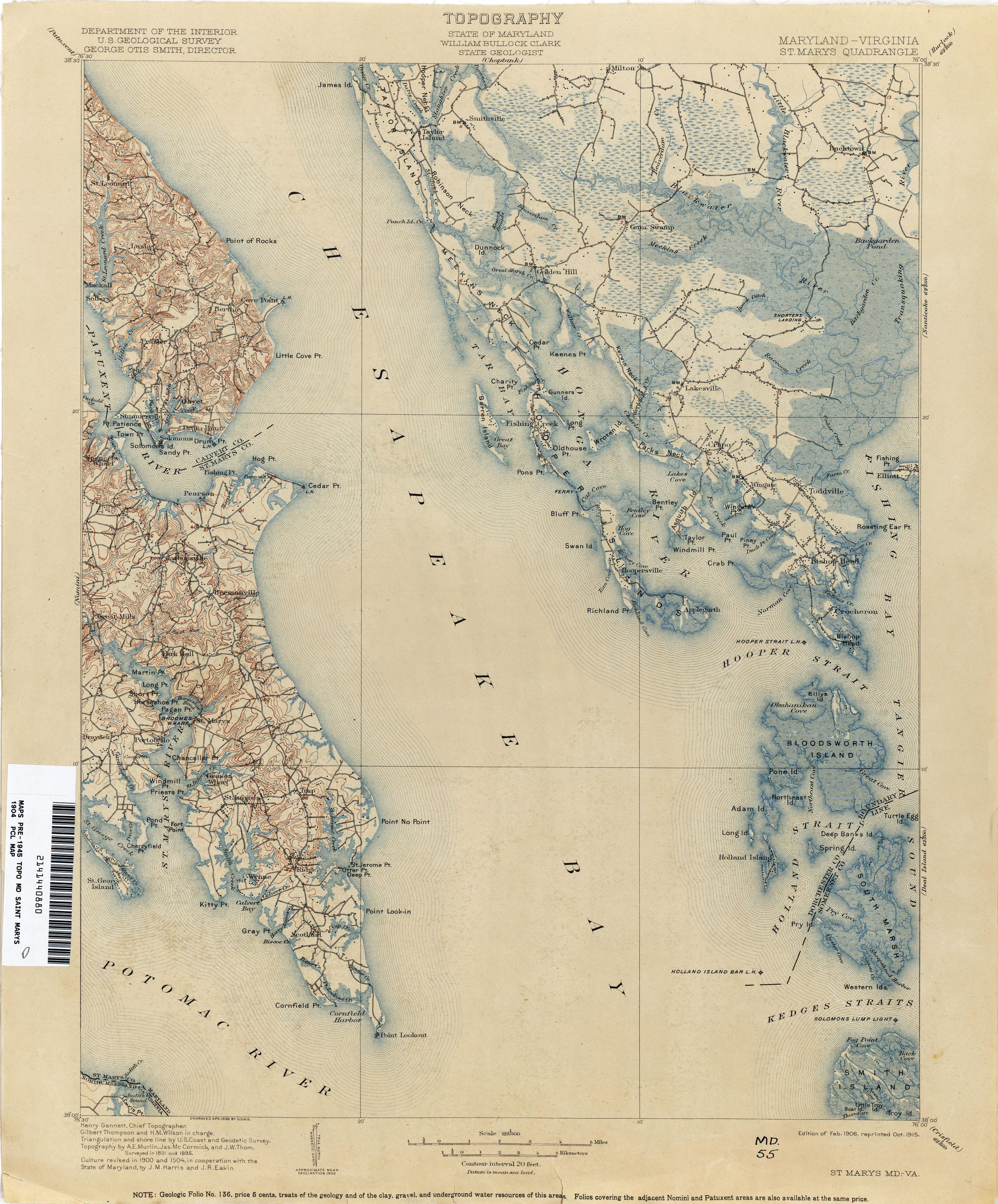 Saint Marys Maryland Historical Topographic Maryland Map