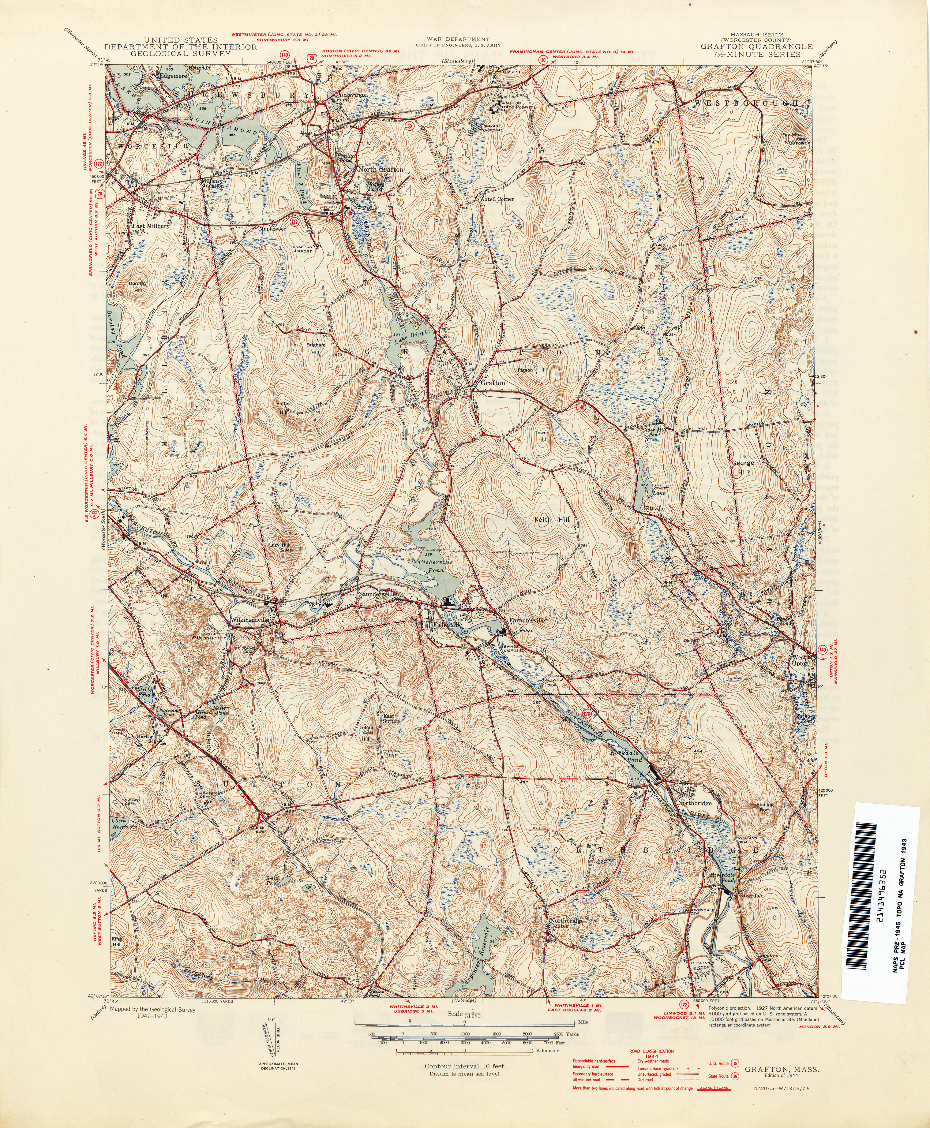 Topographical Map Of Grafton MA Mapped By US Geological - Us geological topographic maps