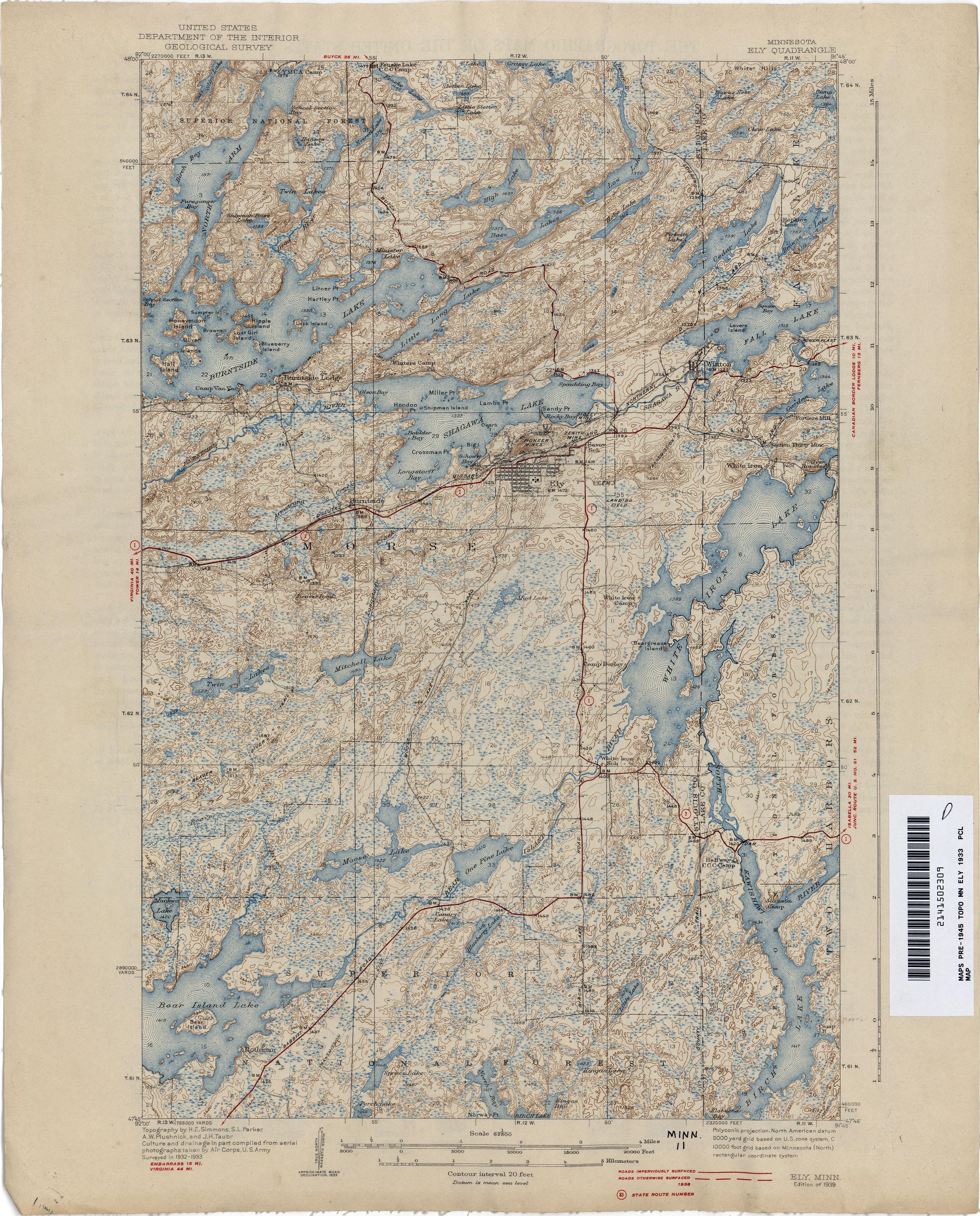 Minnesota Historical Topographic Maps PerryCastaeda Map