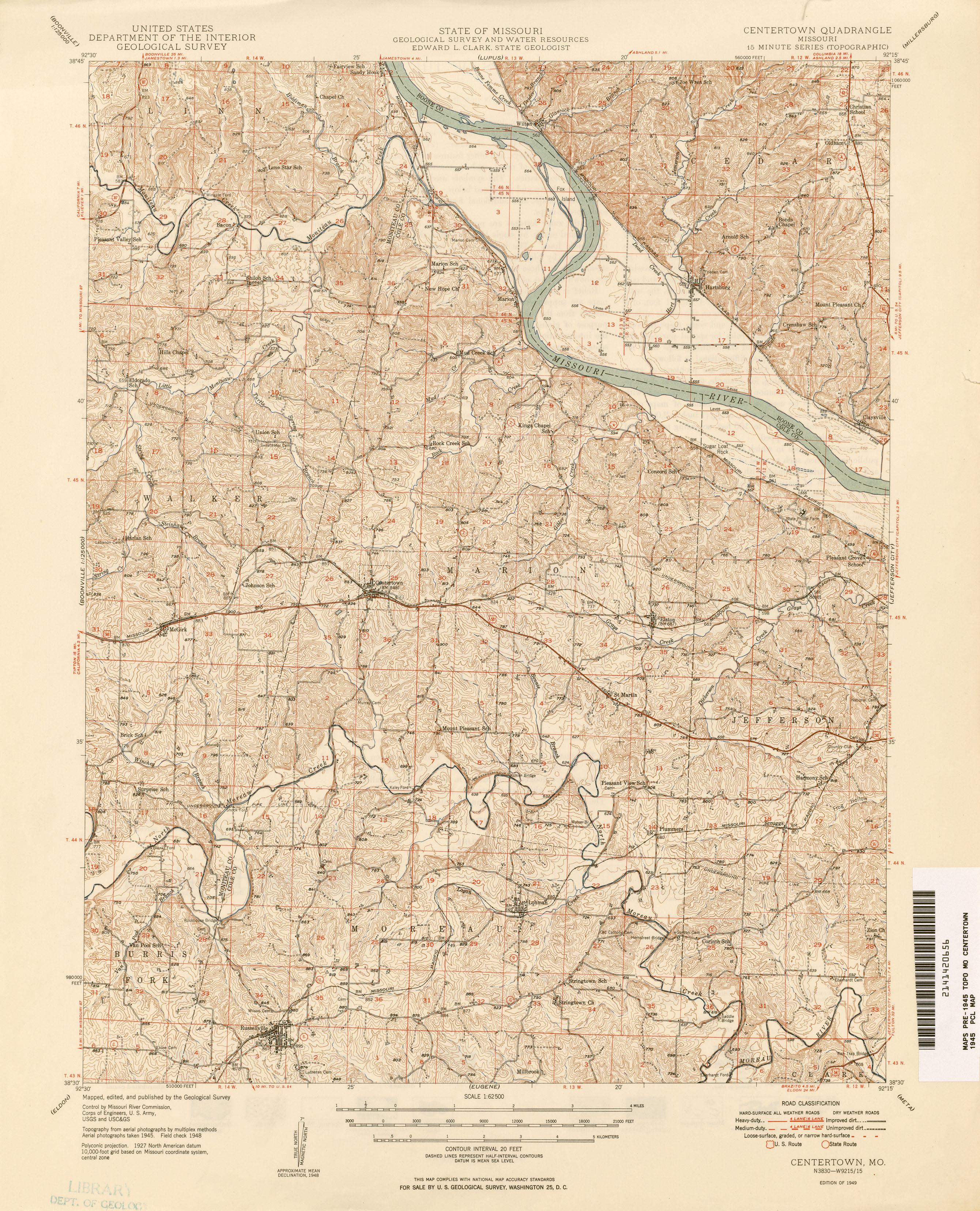 missouri historical topographic maps perry castañeda map
