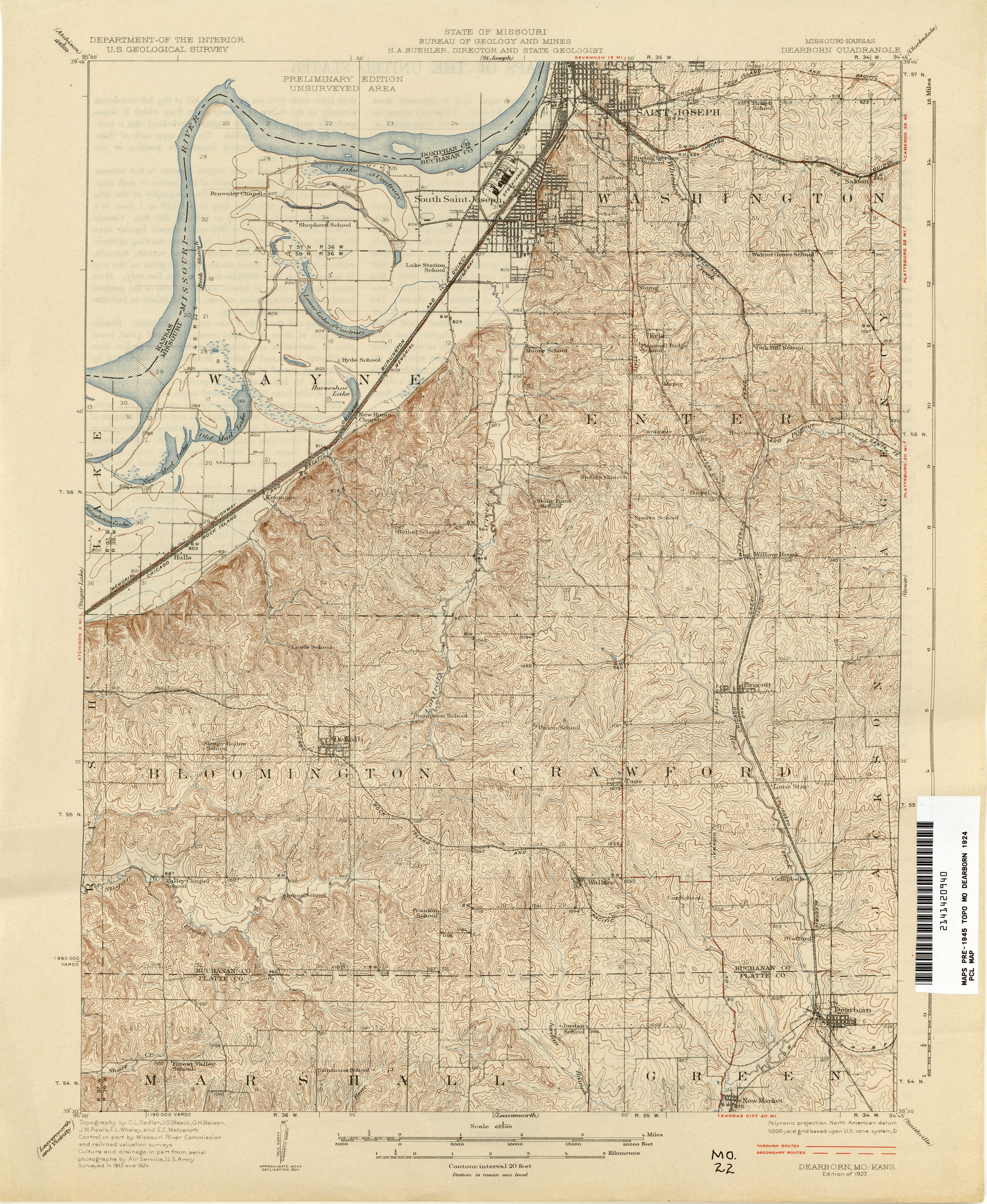 Missouri Historical Topographic Maps PerryCastañeda Map - Elevation map of kansas