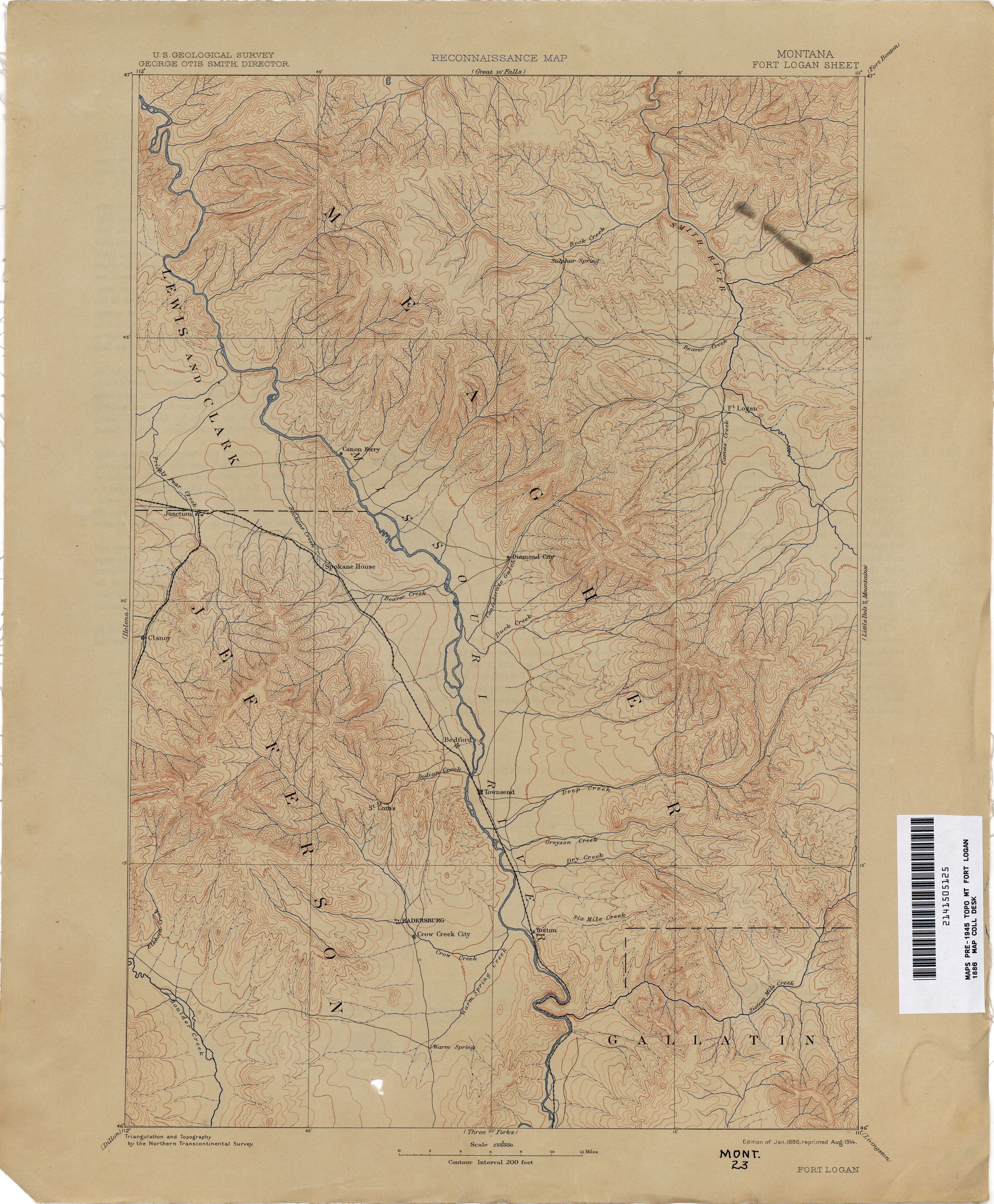 Montana Topographic Maps Perry Castaneda Map Collection Ut