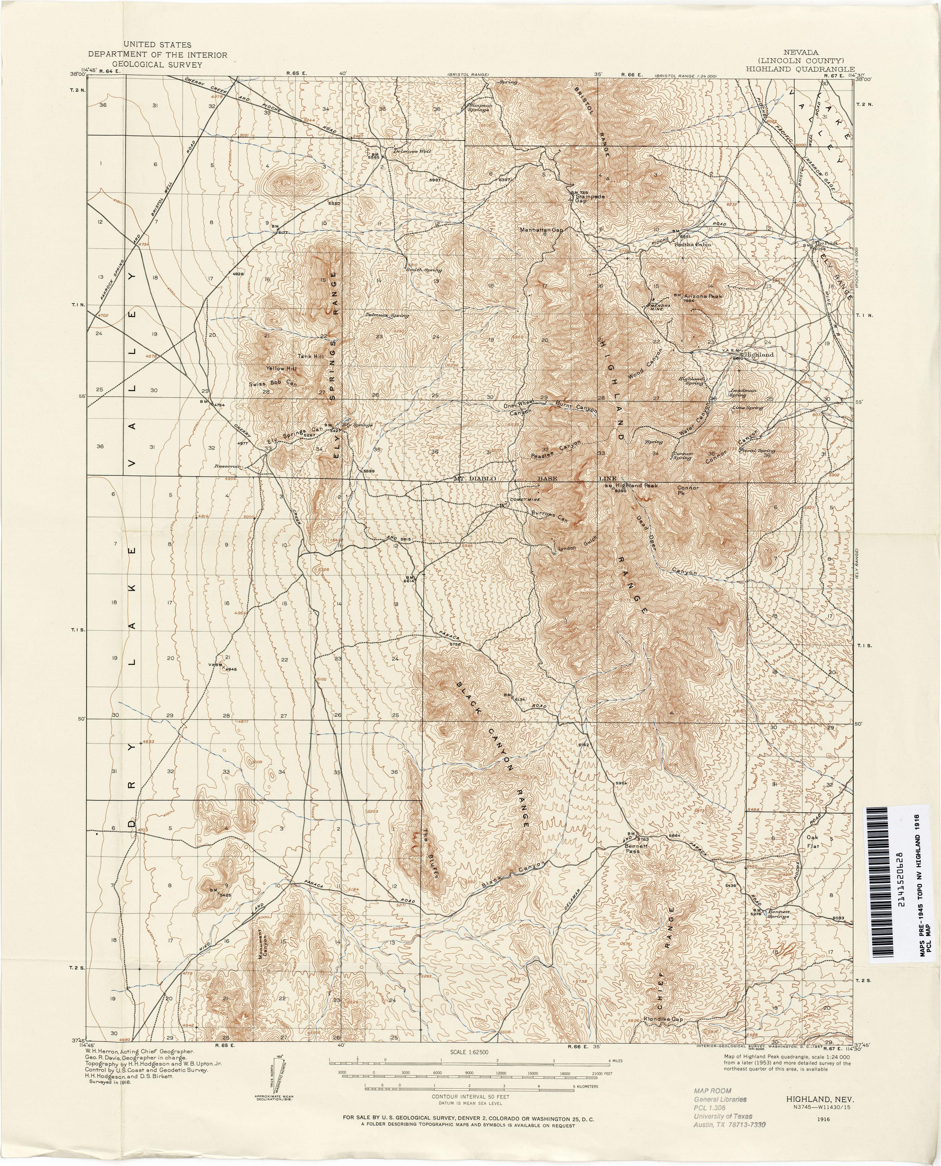 Nevada Historical Topographic Maps PerryCastañeda Map - Nevada us map