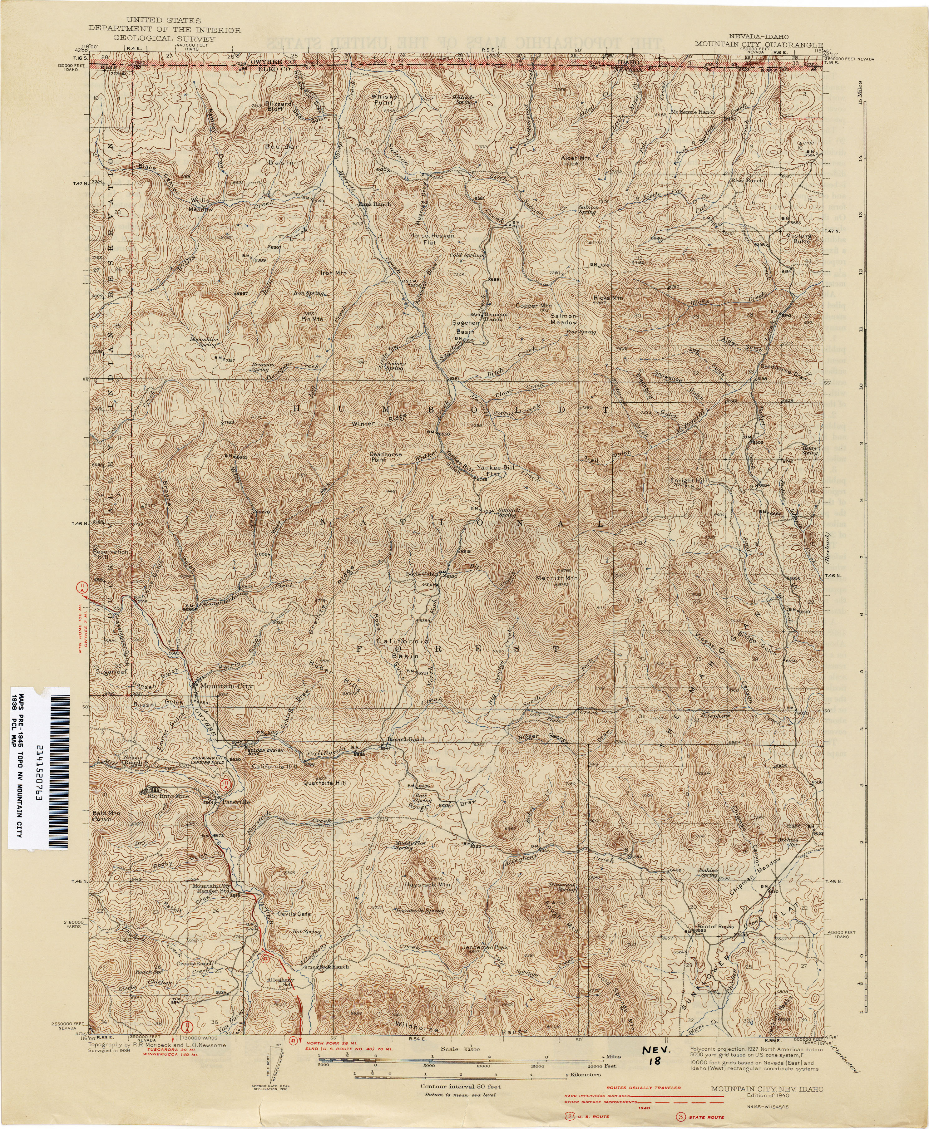 Nevada Historical Topographic Maps PerryCastañeda Map - Nevada city map