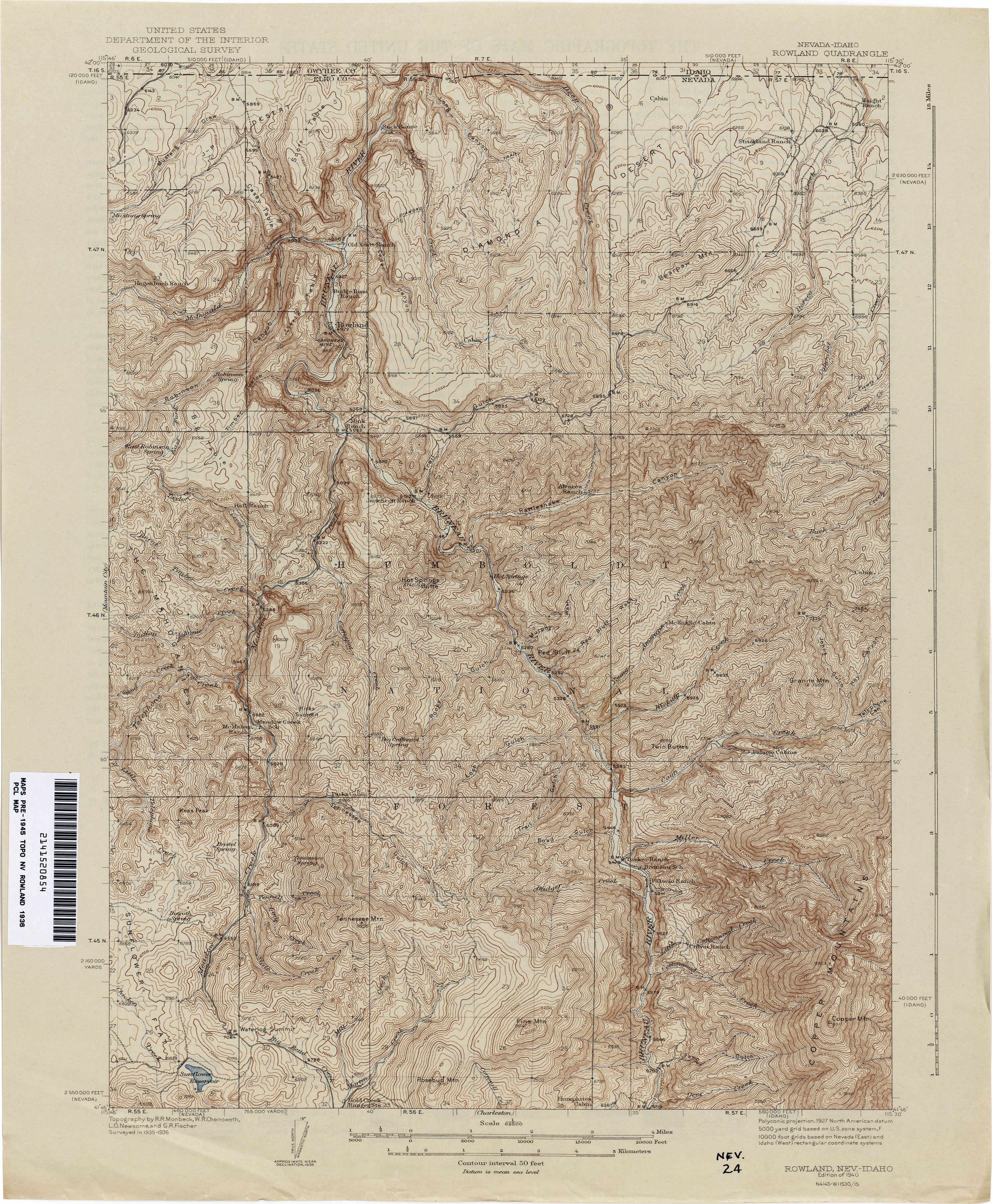Nevada Historical Topographic Maps PerryCastañeda Map - Topographical map of idaho
