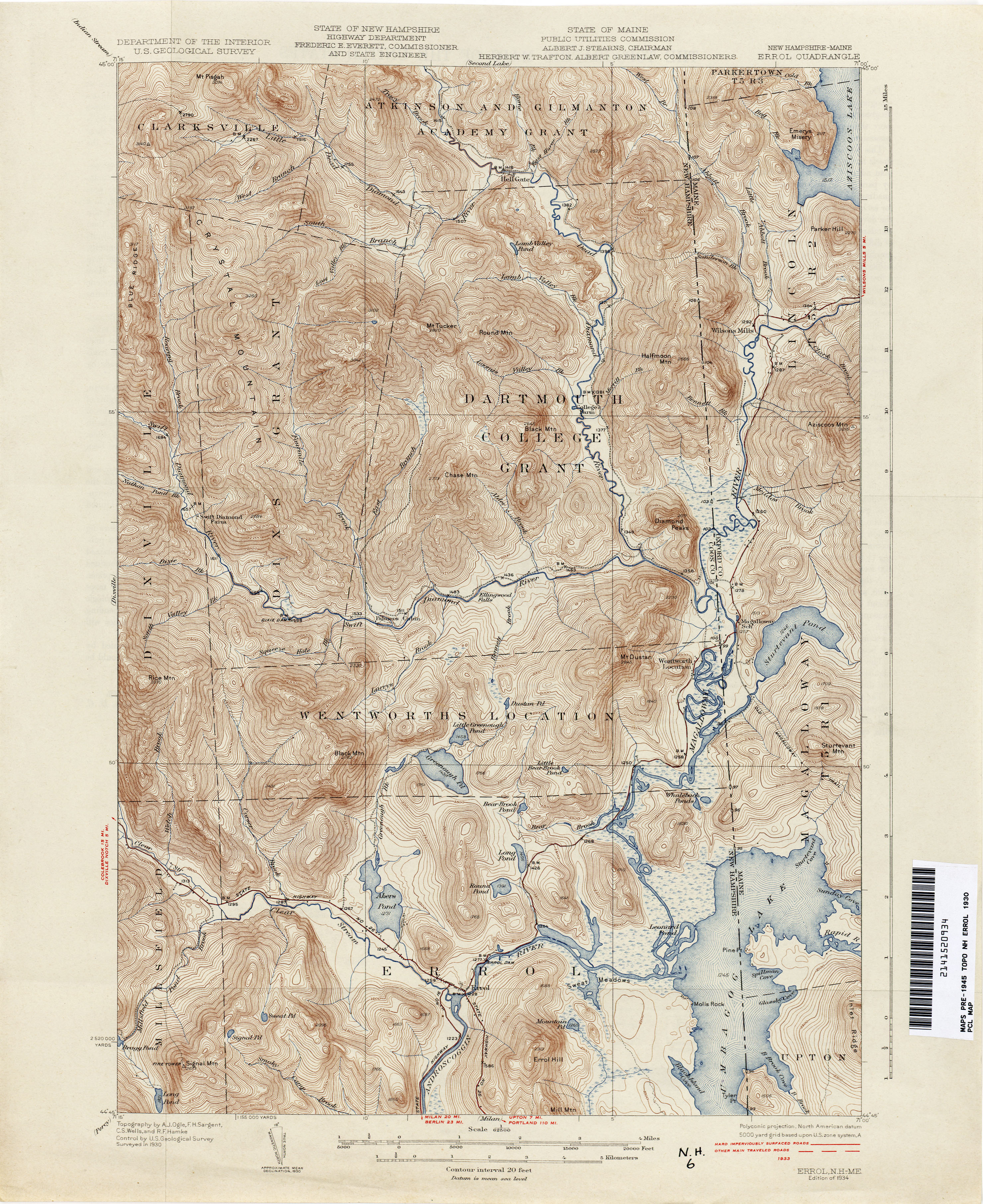 New Hampshire Topographic Maps PerryCastañeda Map Collection - Maine road map