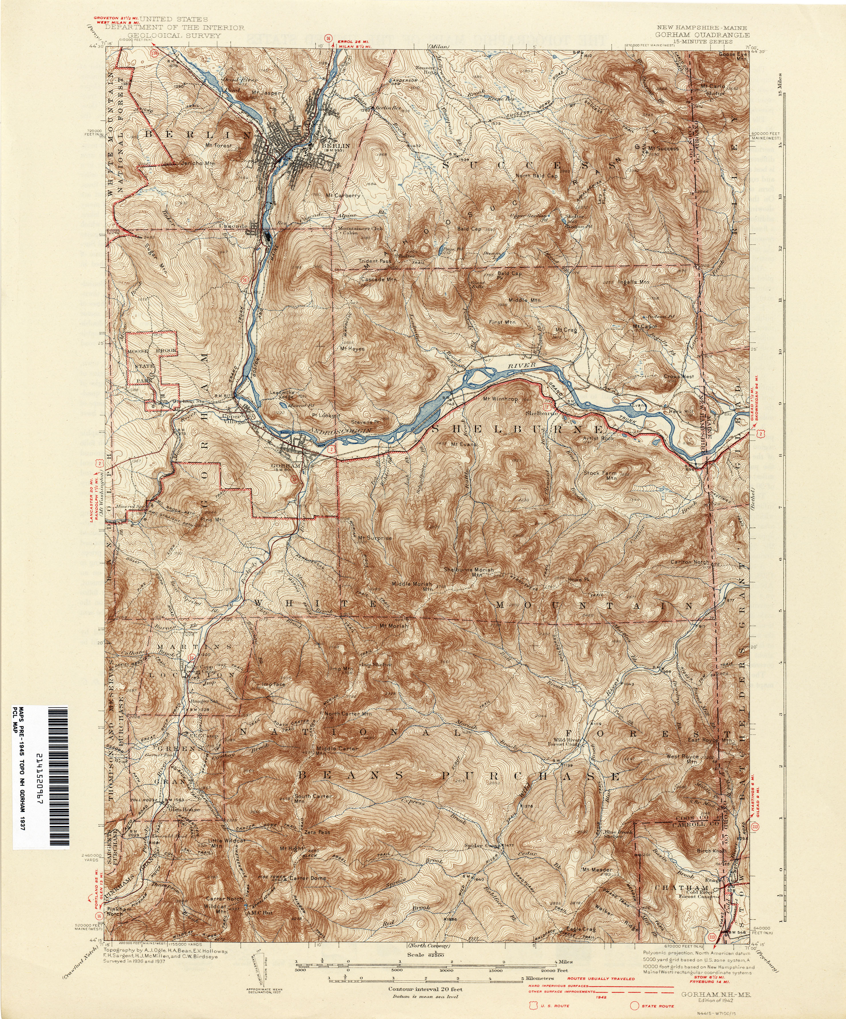 New Hampshire Topographic Maps PerryCastañeda Map Collection - Topographical map of maine