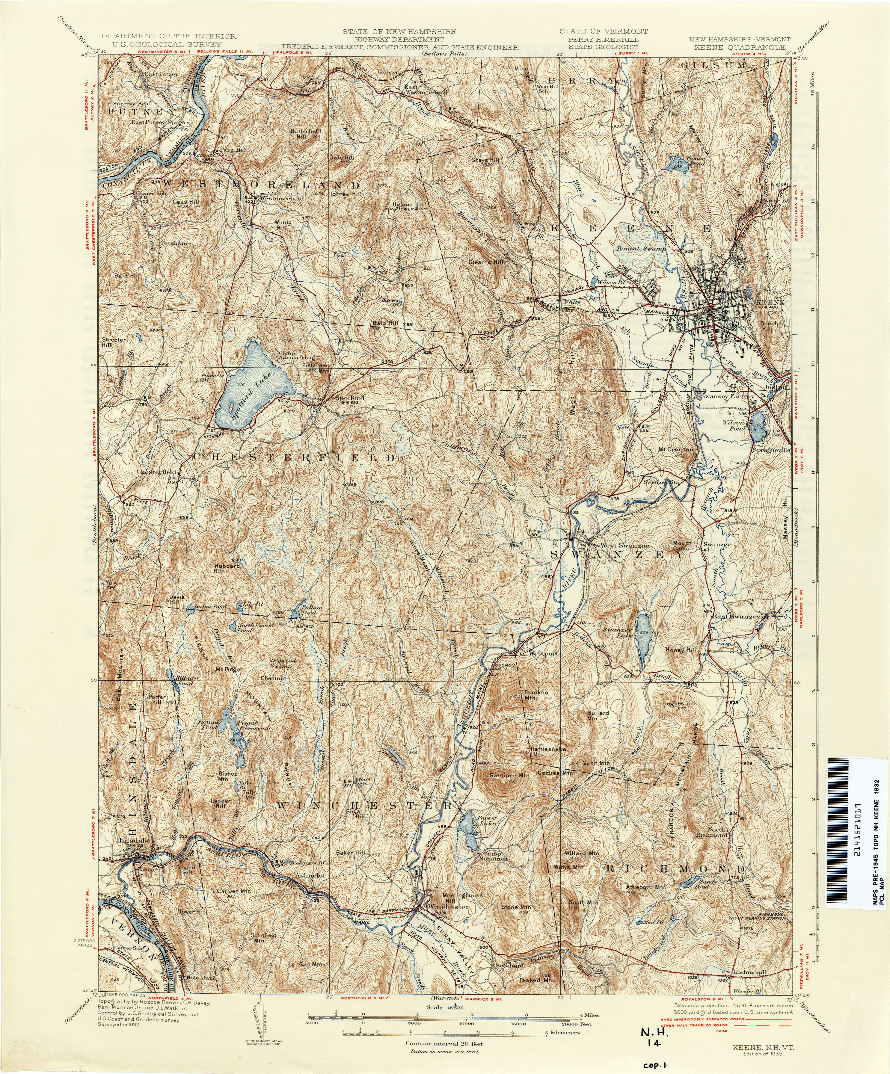 New Hampshire Topographic Maps PerryCastañeda Map Collection - Map of vermont and new hampshire