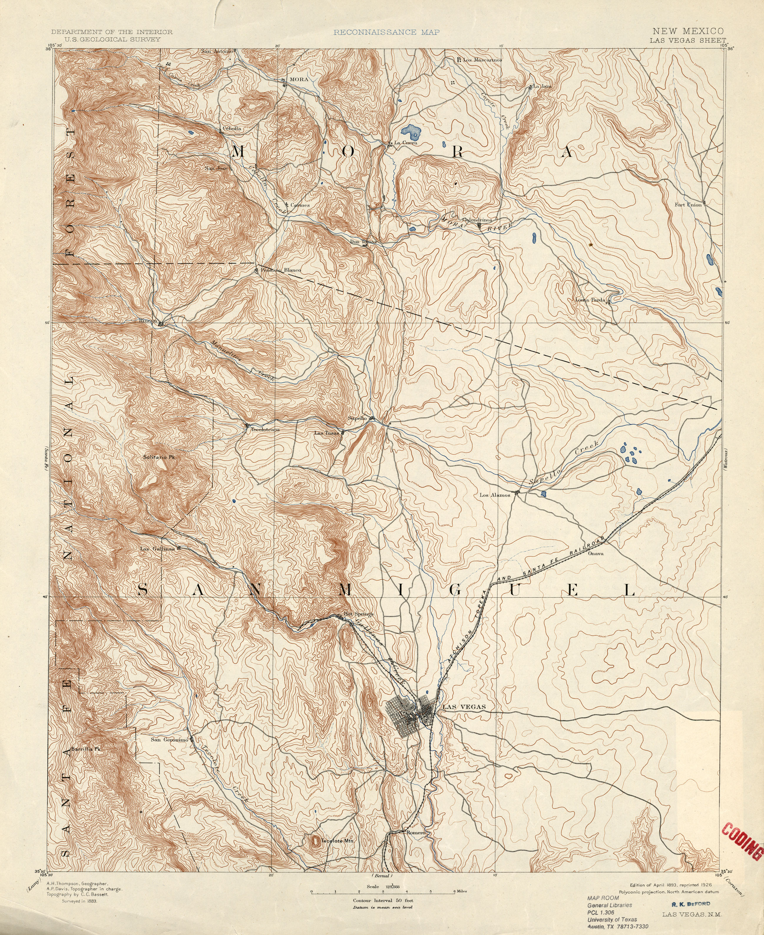 New Mexico Historical Topographic Maps PerryCastañeda Map - Nm maps