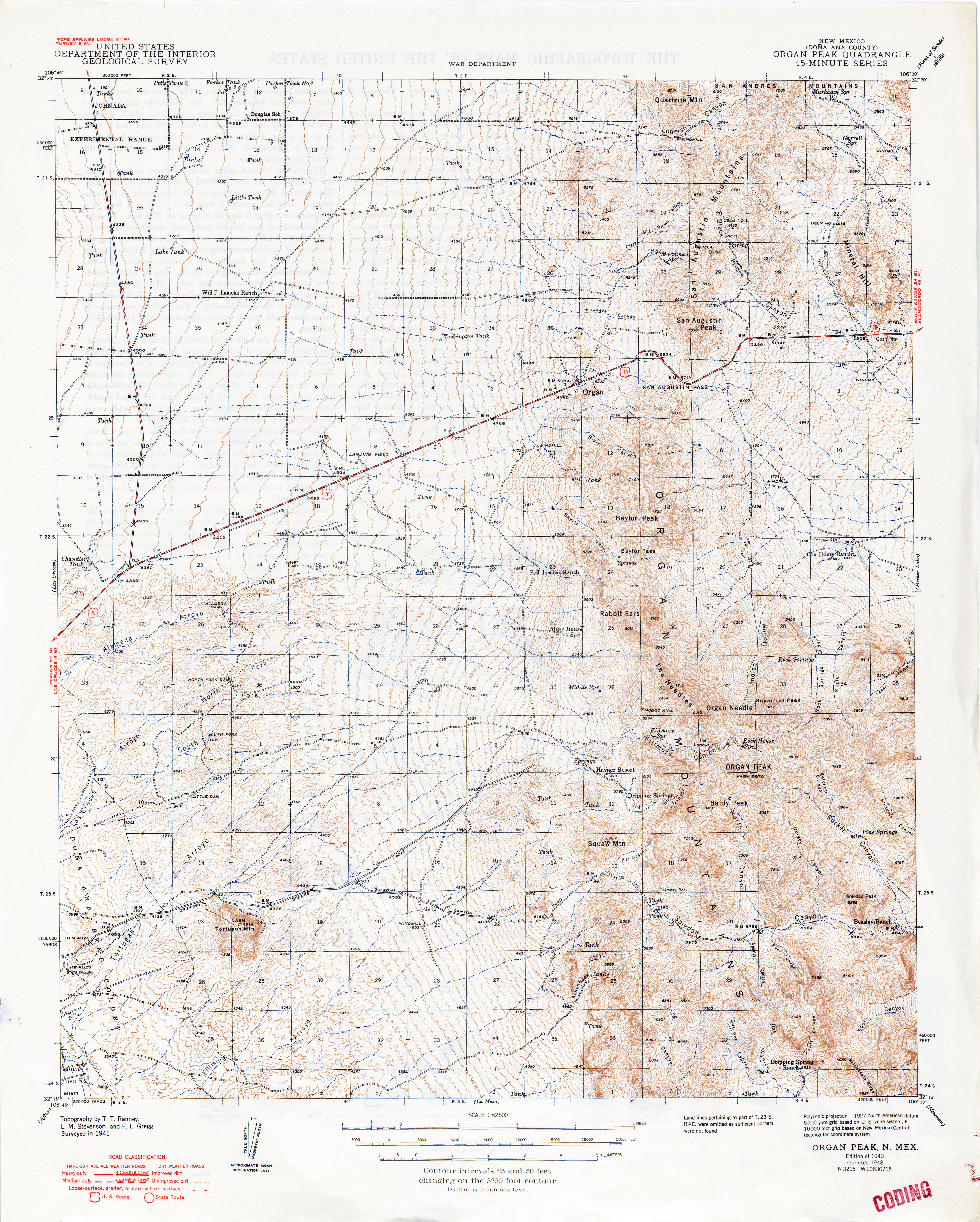 New Mexico Historical Topographic Maps PerryCastañeda Map - Road map of nm