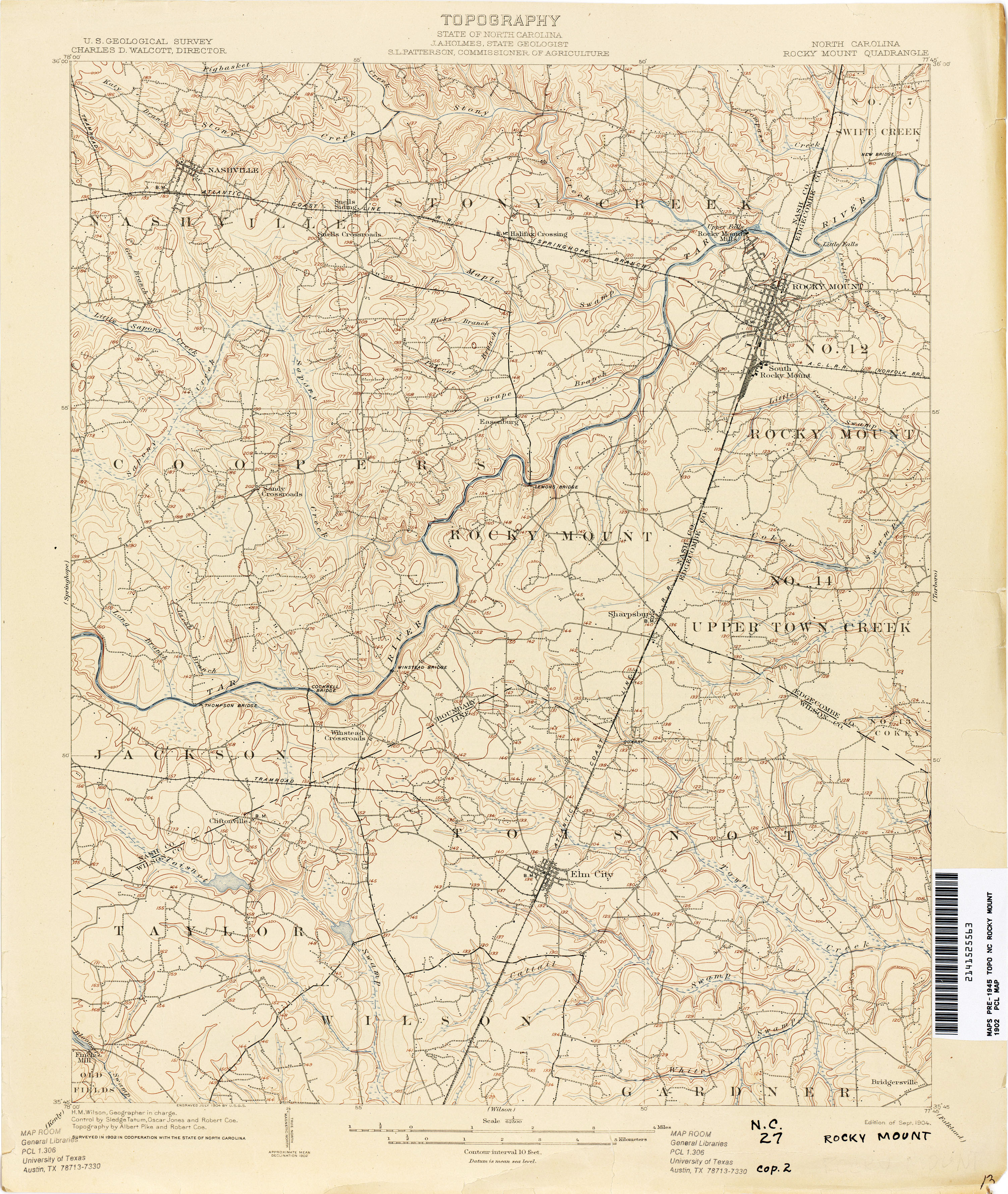 North Carolina Historical Topographic Maps PerryCastañeda Map - Nc map