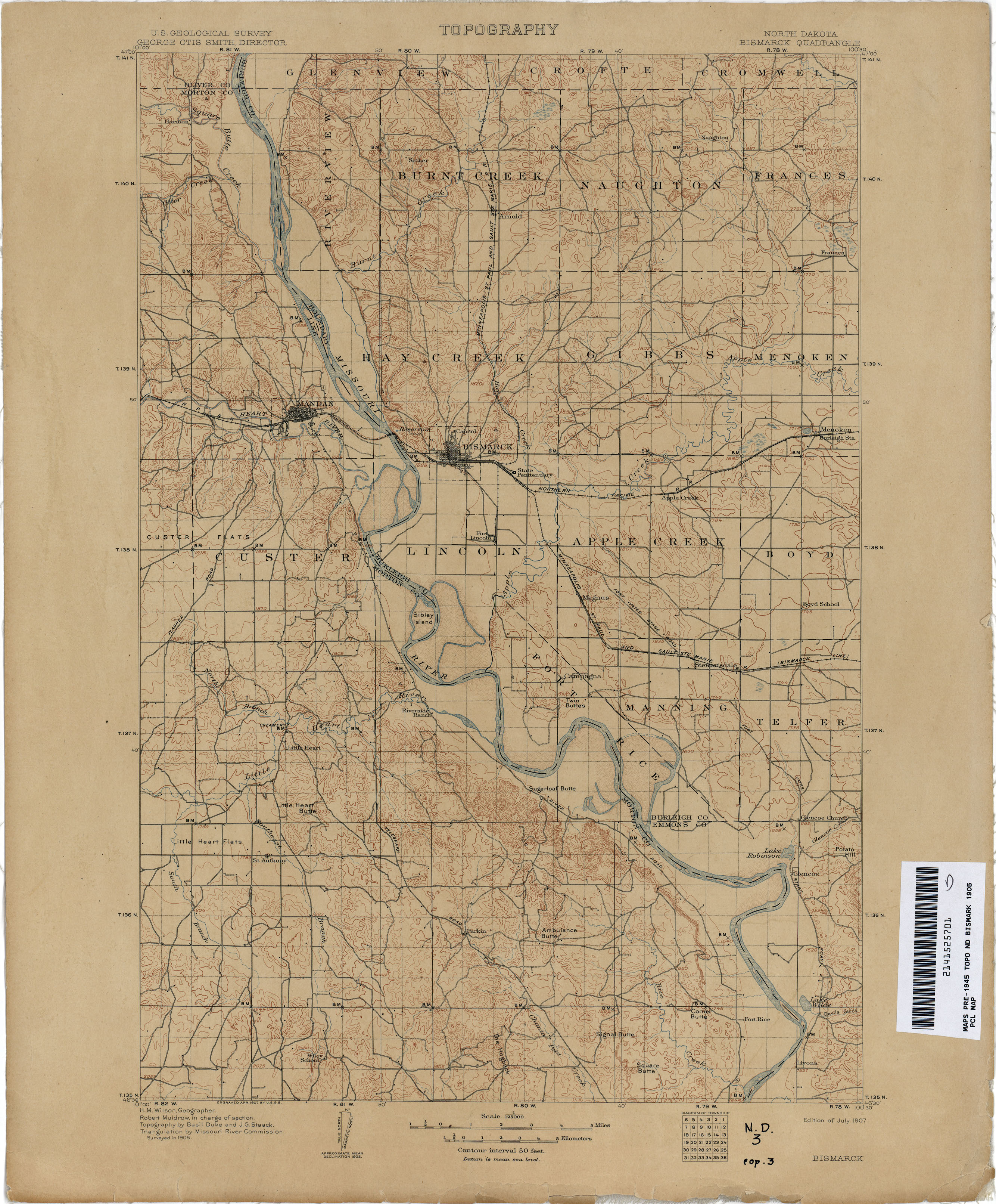 North Dakota Historical Topographic Maps PerryCastañeda Map - Us map 1905